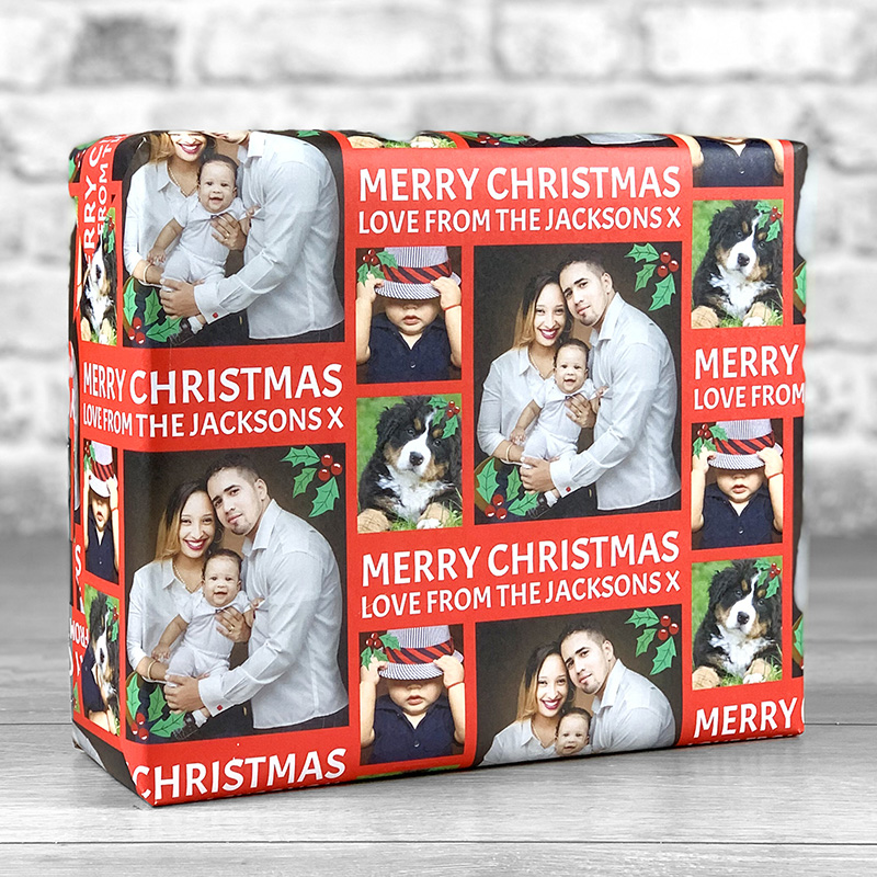 Merry Christmas Red Gift Wrap with Personalised Message and 3 Photo Uploads