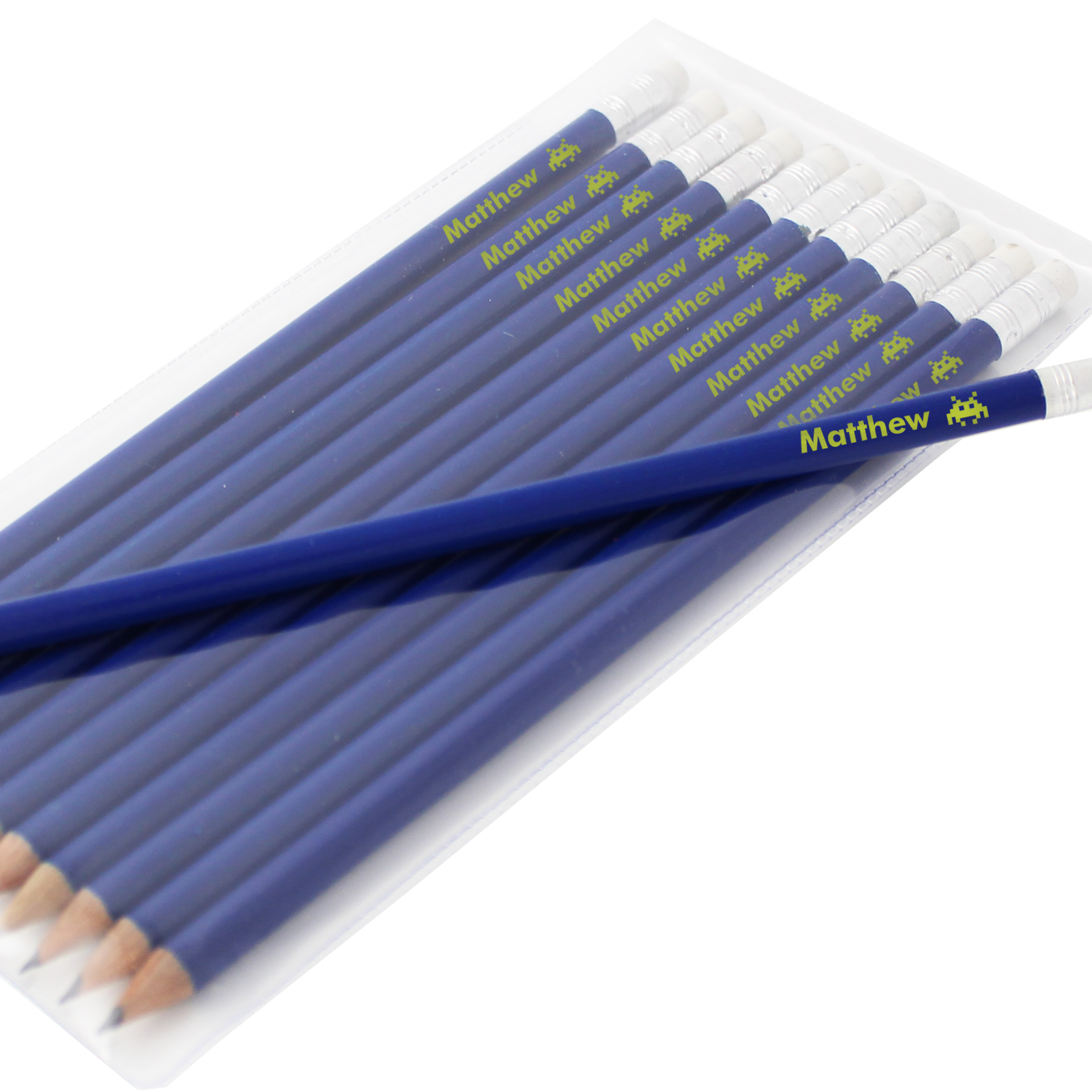 Personalised Alien Motif Blue Pencils