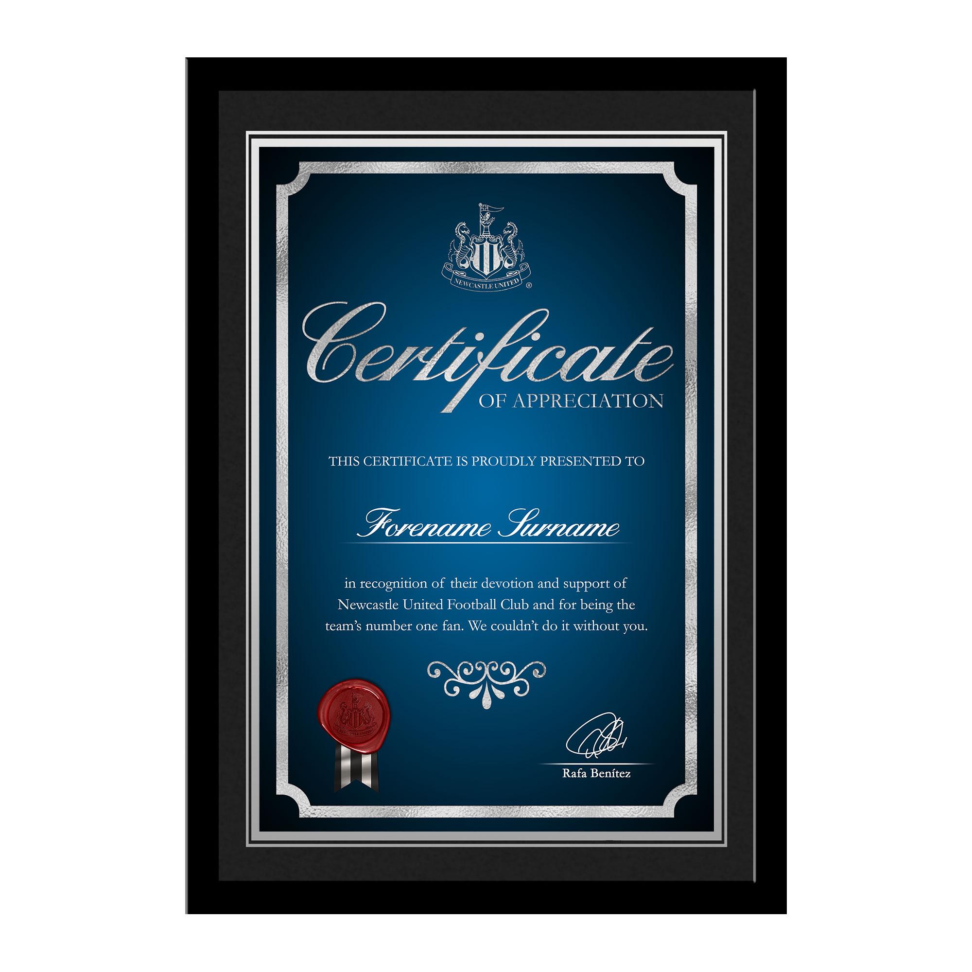Newcastle United FC No 1 Fan Certificate Frame