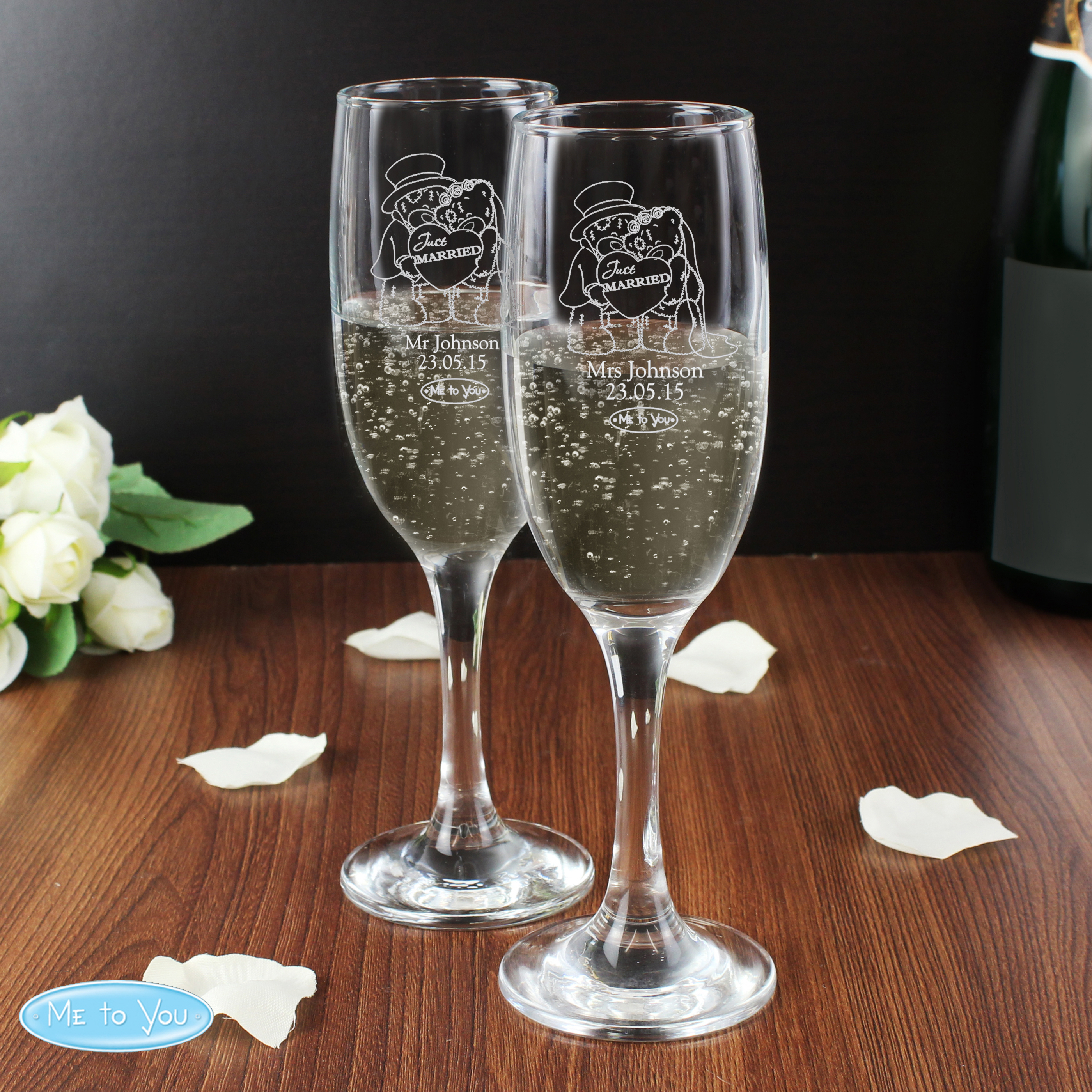 Personalised Me To You Wedding Pair of Flutes