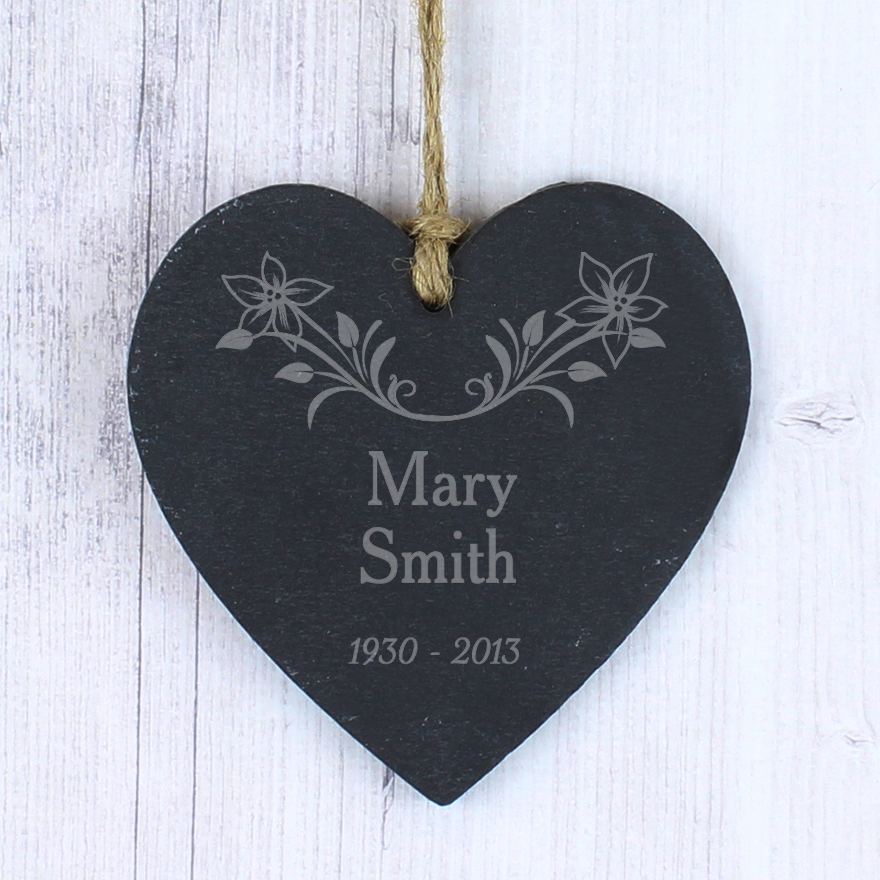 Engraved Slate Heart - In Loving Memory - Flowers