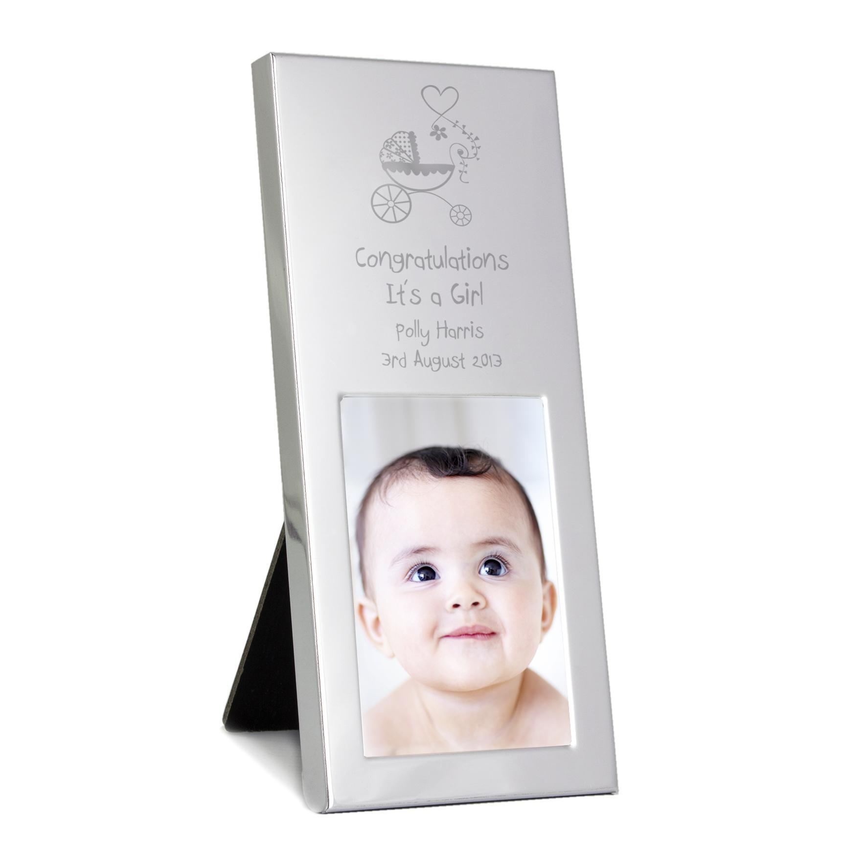 Engraved Pram Small Silver 2x3 Frame