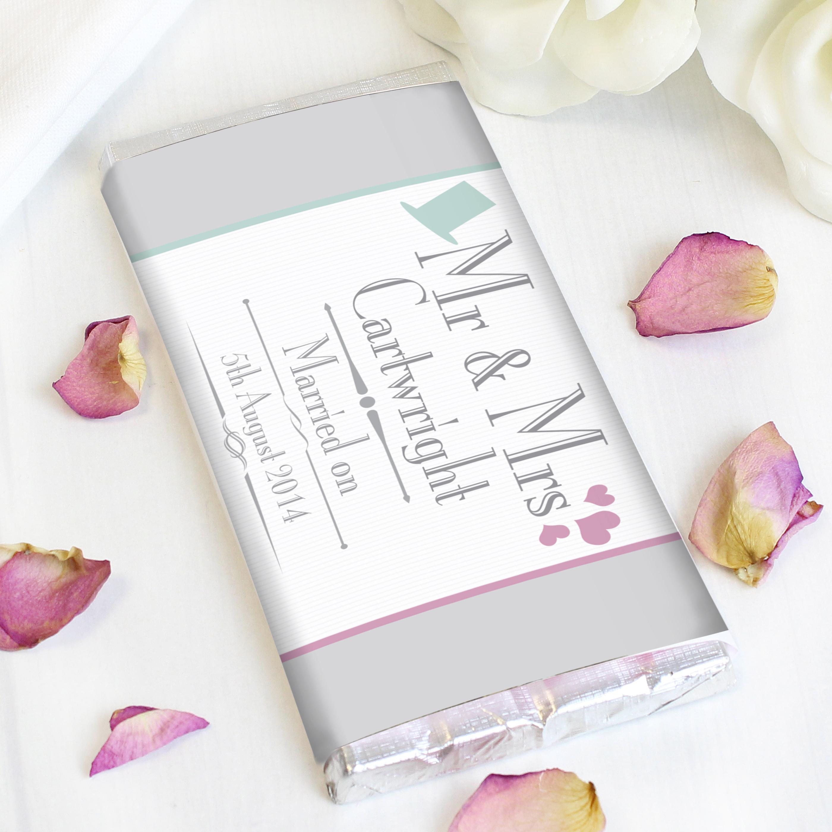 Personalised Decorative Wedding Mr & Mrs Milk Chocolate Bar