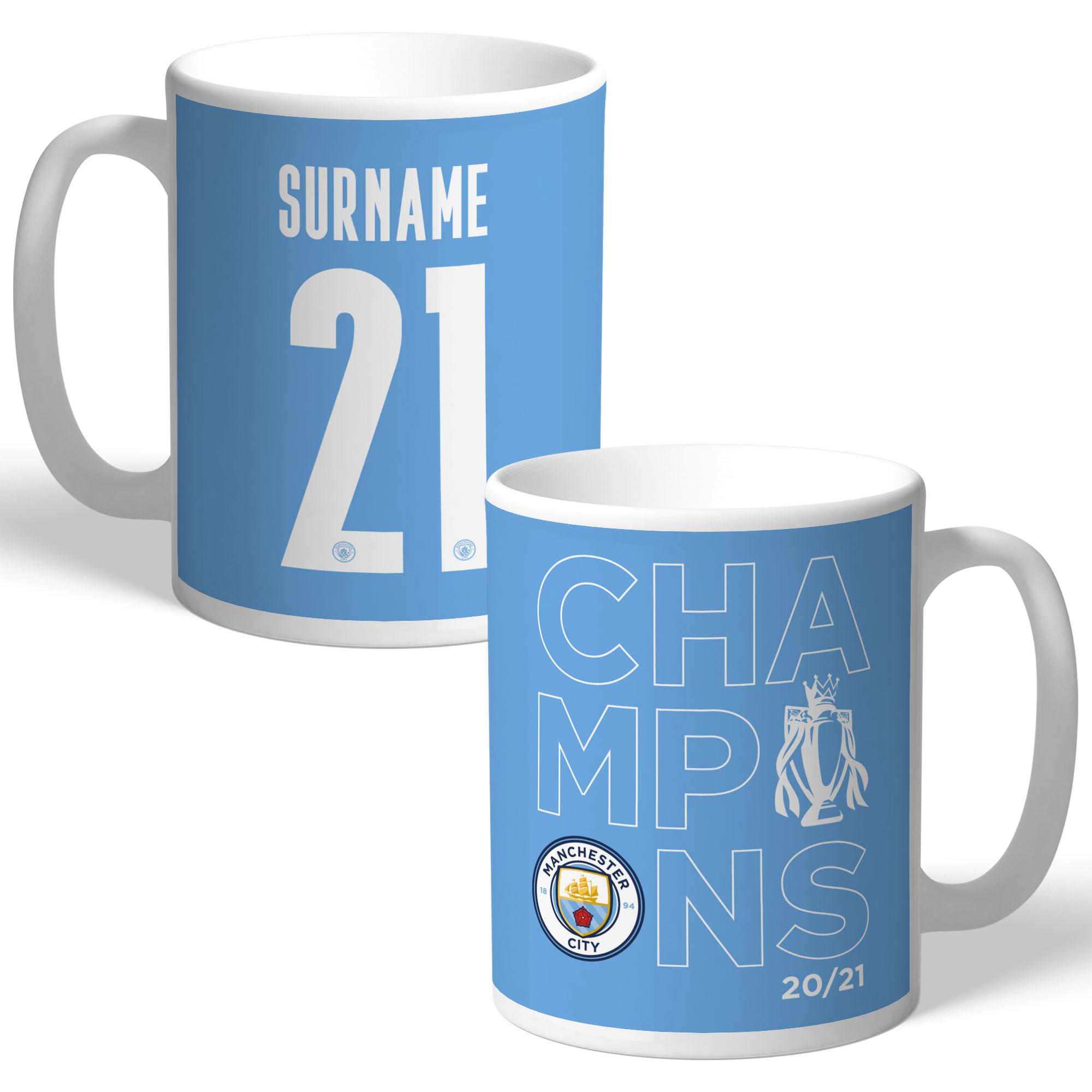 Manchester City FC Premier League Champions 2021 Back of Shirt Mug