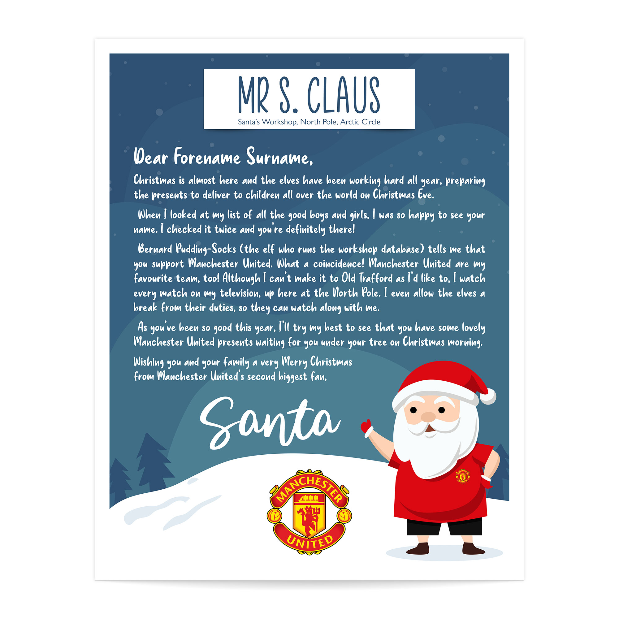 Manchester United FC Personalised Letter from Santa