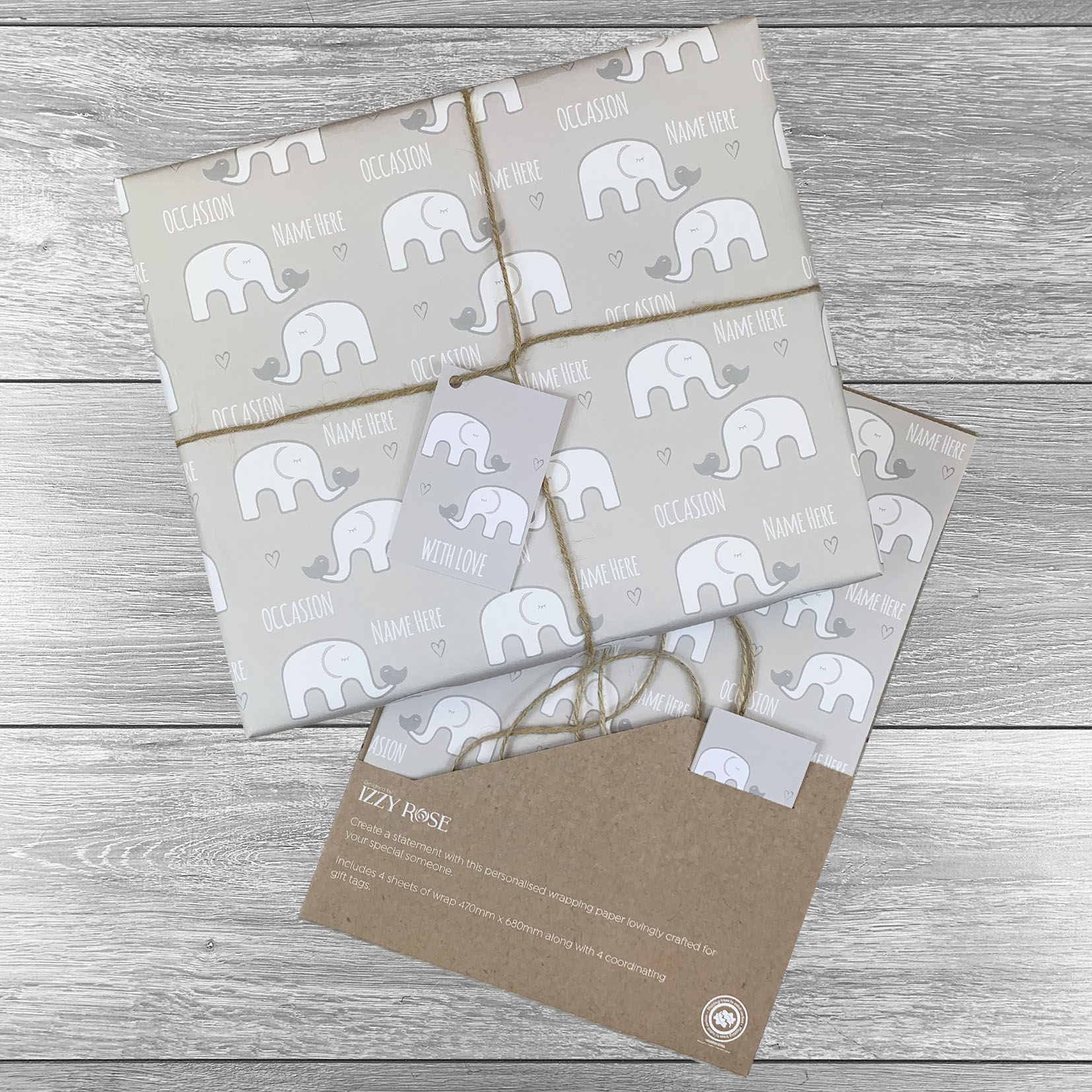 Elephants Any Occasion Giftwrap - Multiple colour choices
