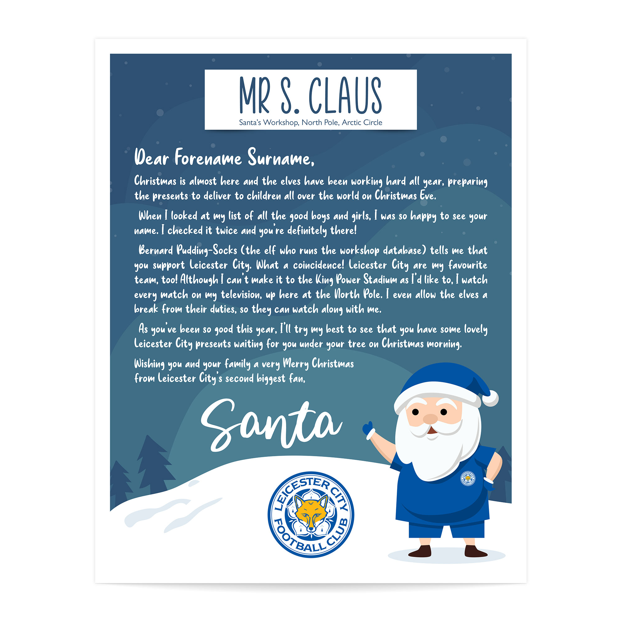Leicester City FC Personalised Letter from Santa