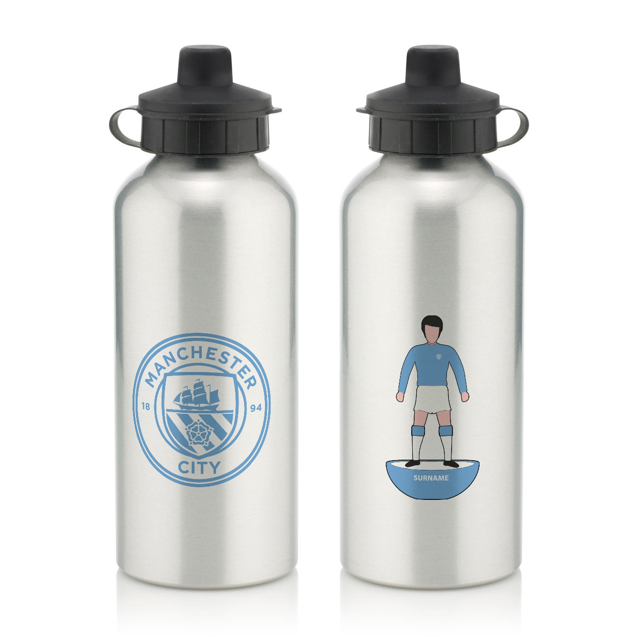 Manchester City FC Player Figure Water Bottle
