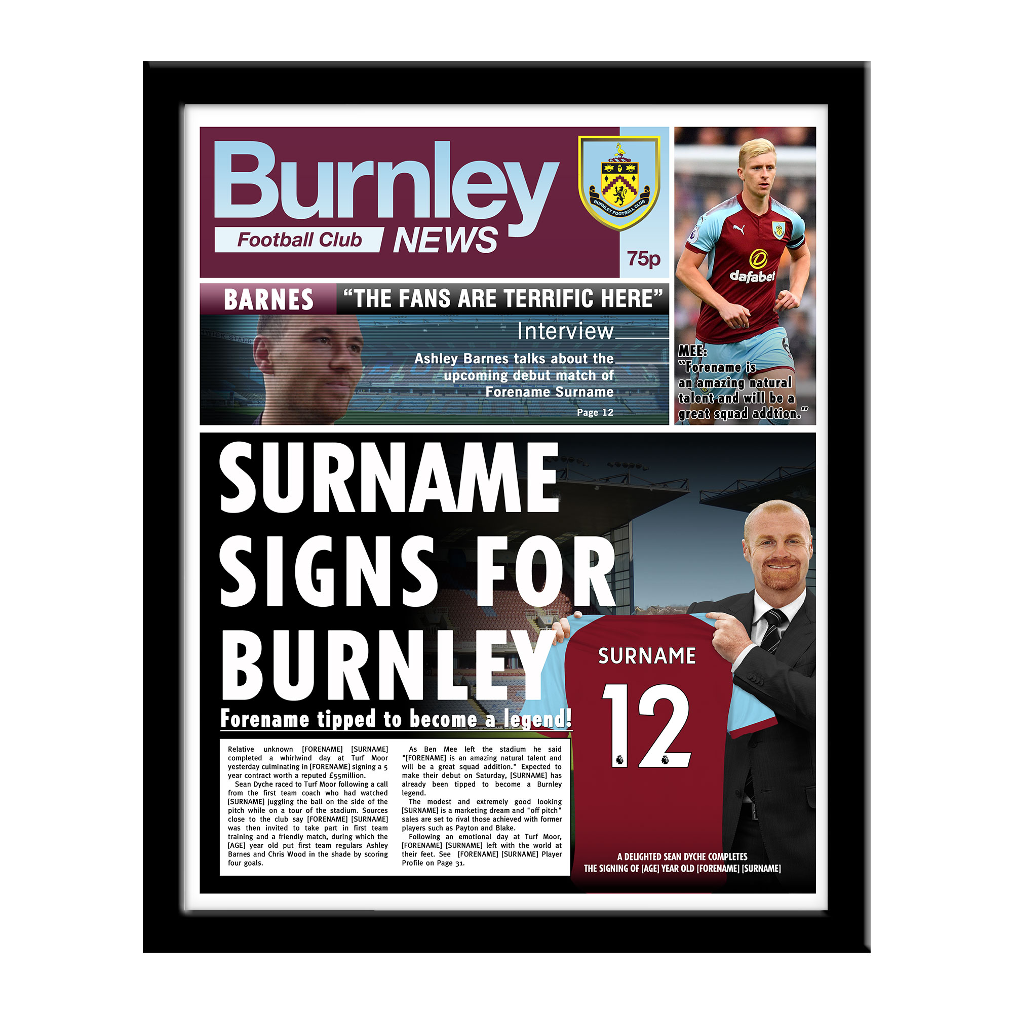 Burnley FC News Framed Print