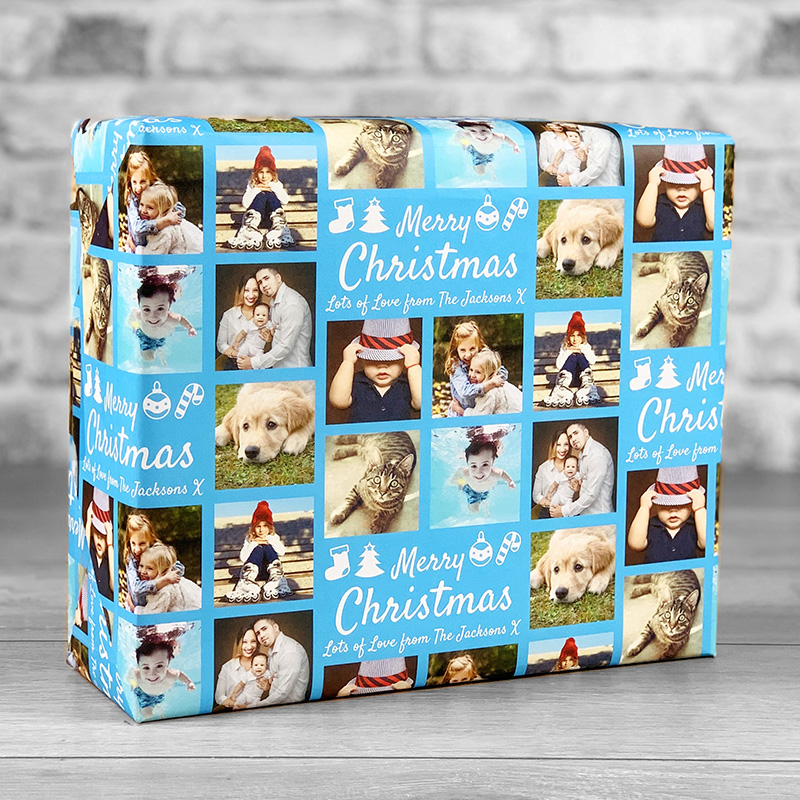 Merry Christmas Blue Gift Wrap with Personalised Message and 7 Photo Uploads