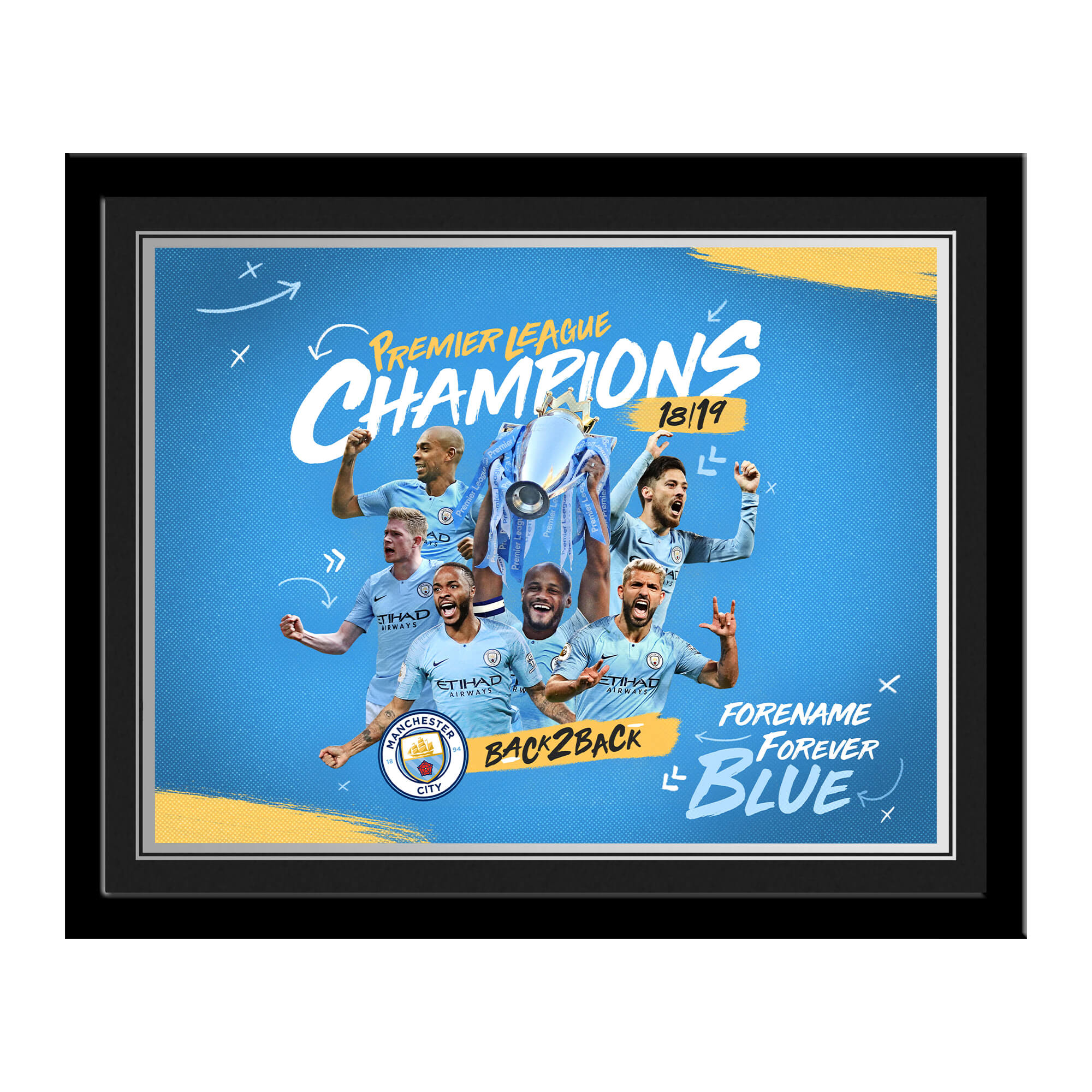 Manchester City FC Back 2 Back Champions Photo Framed