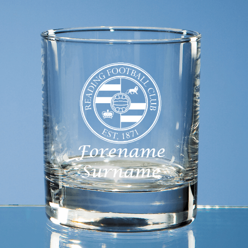 Reading FC Crest Bar Line Old Fashioned Whisky Tumbler