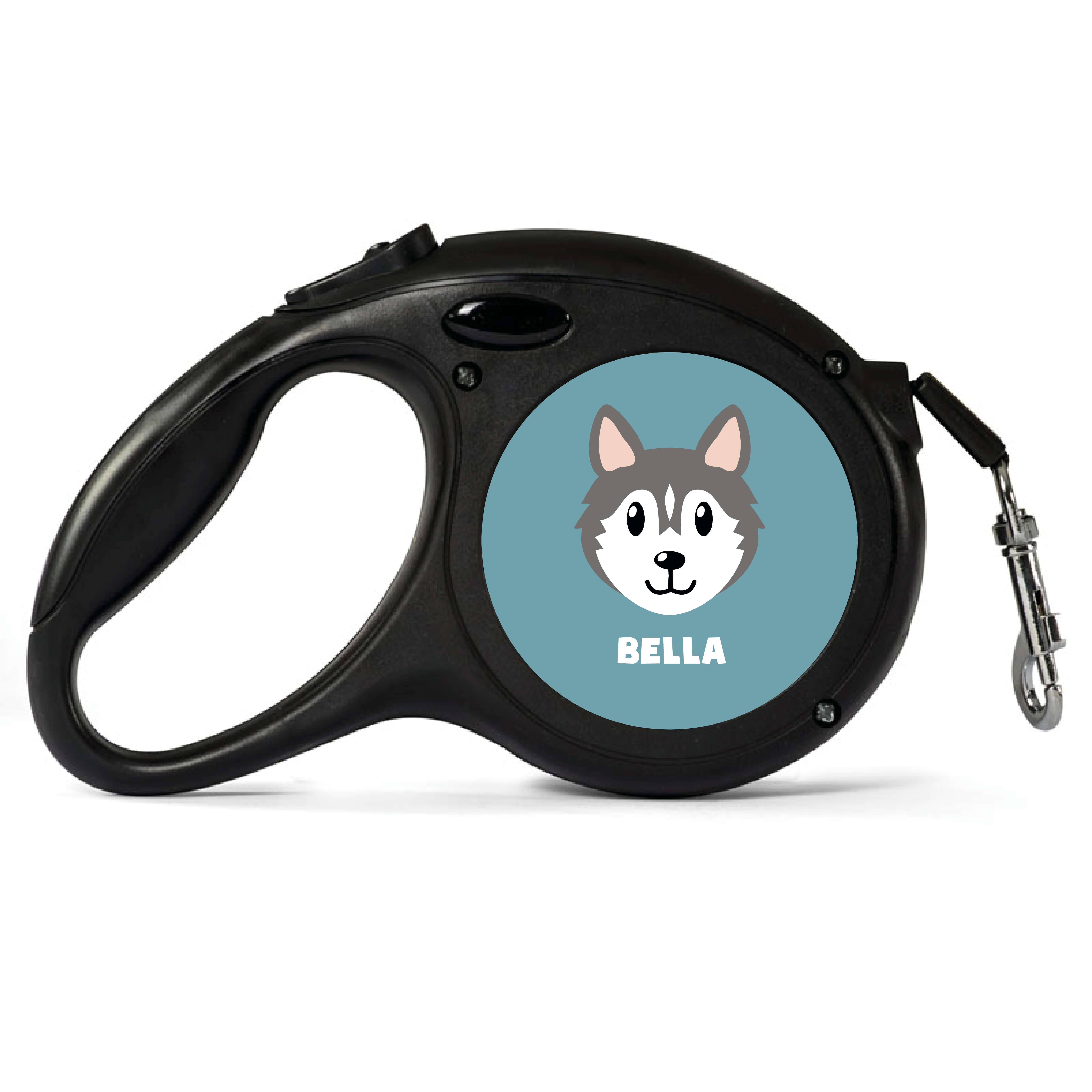 Personalised Grey Husky Retractable Dog Lead - Small