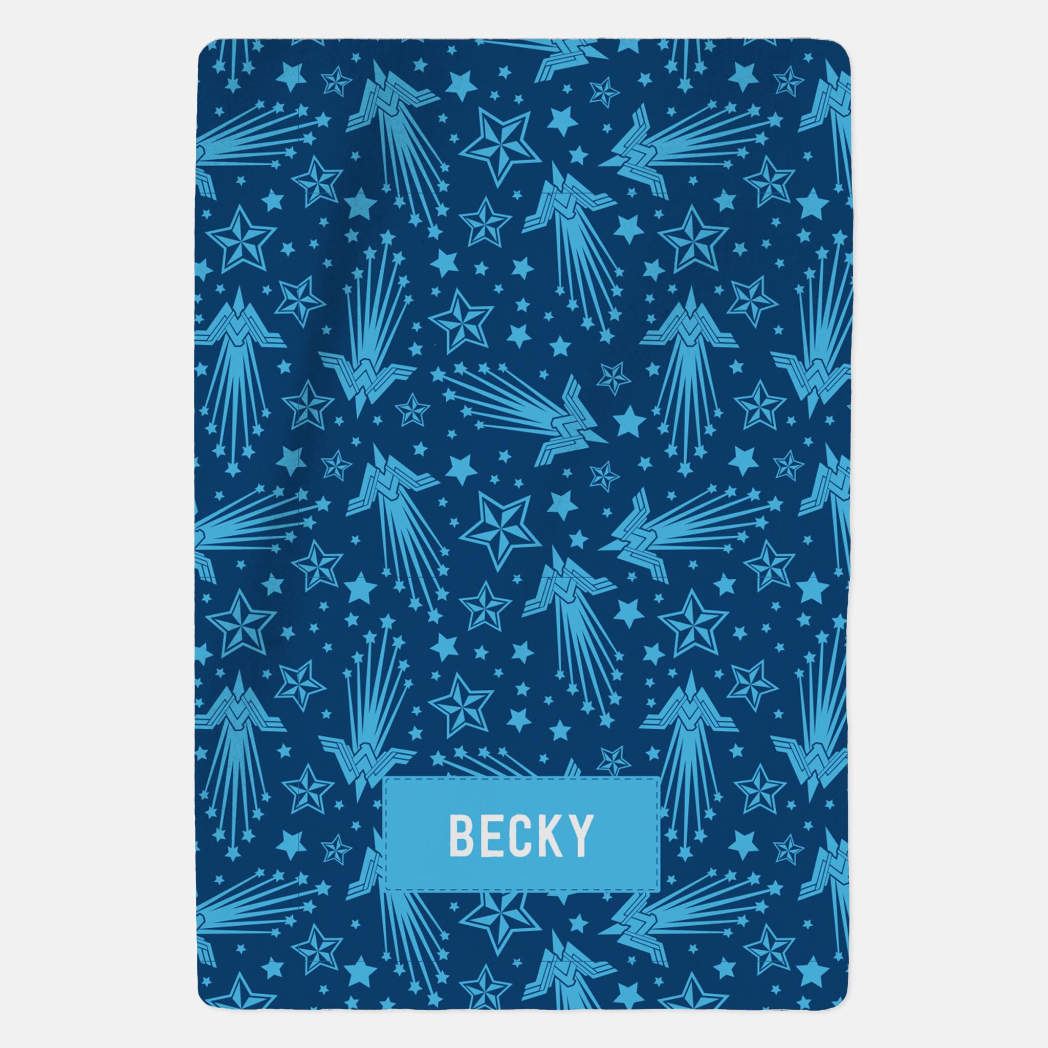 Wonder Woman™ Personalised Blanket - Blue Pattern