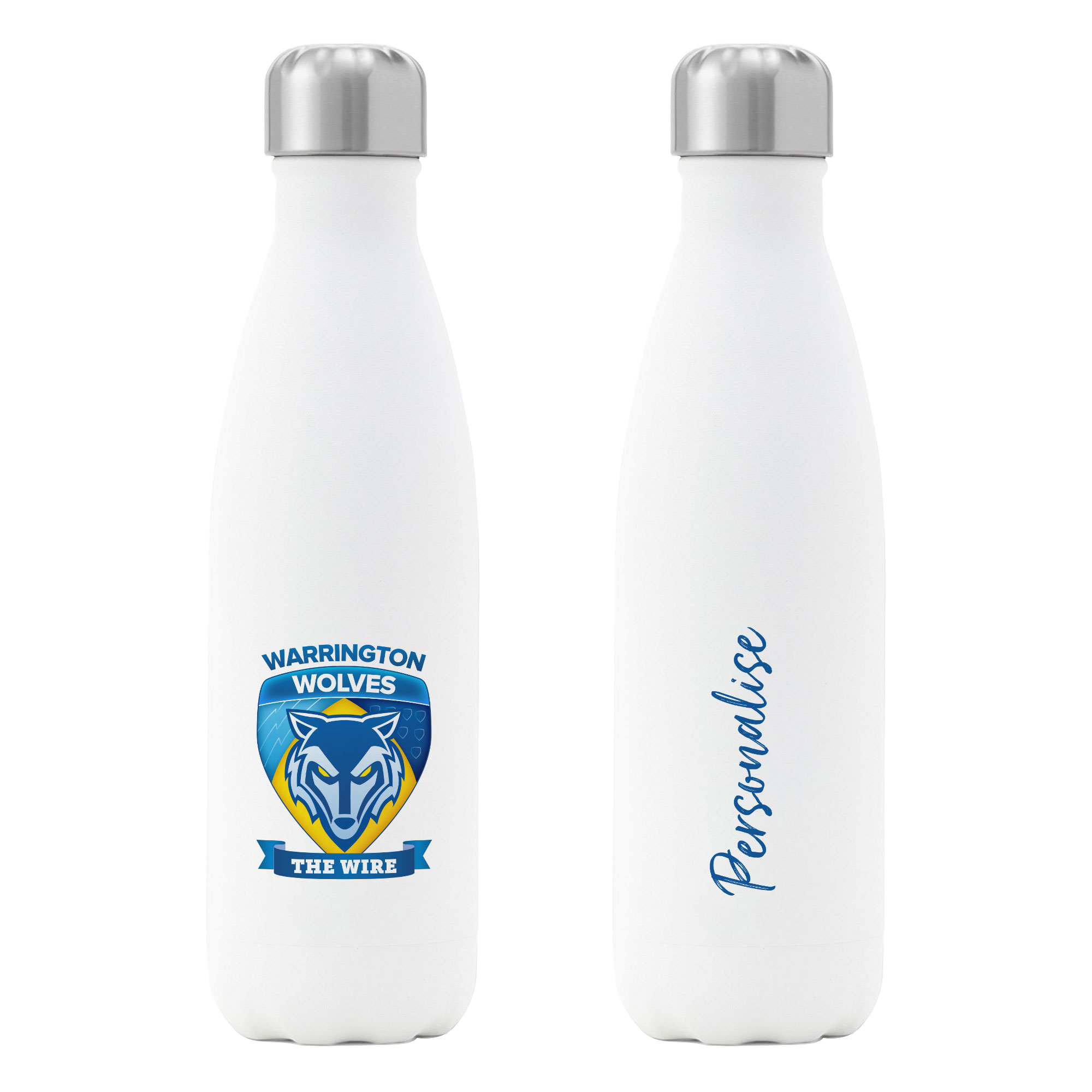 Warrington Wolves Crest Insulated Water Bottle - White