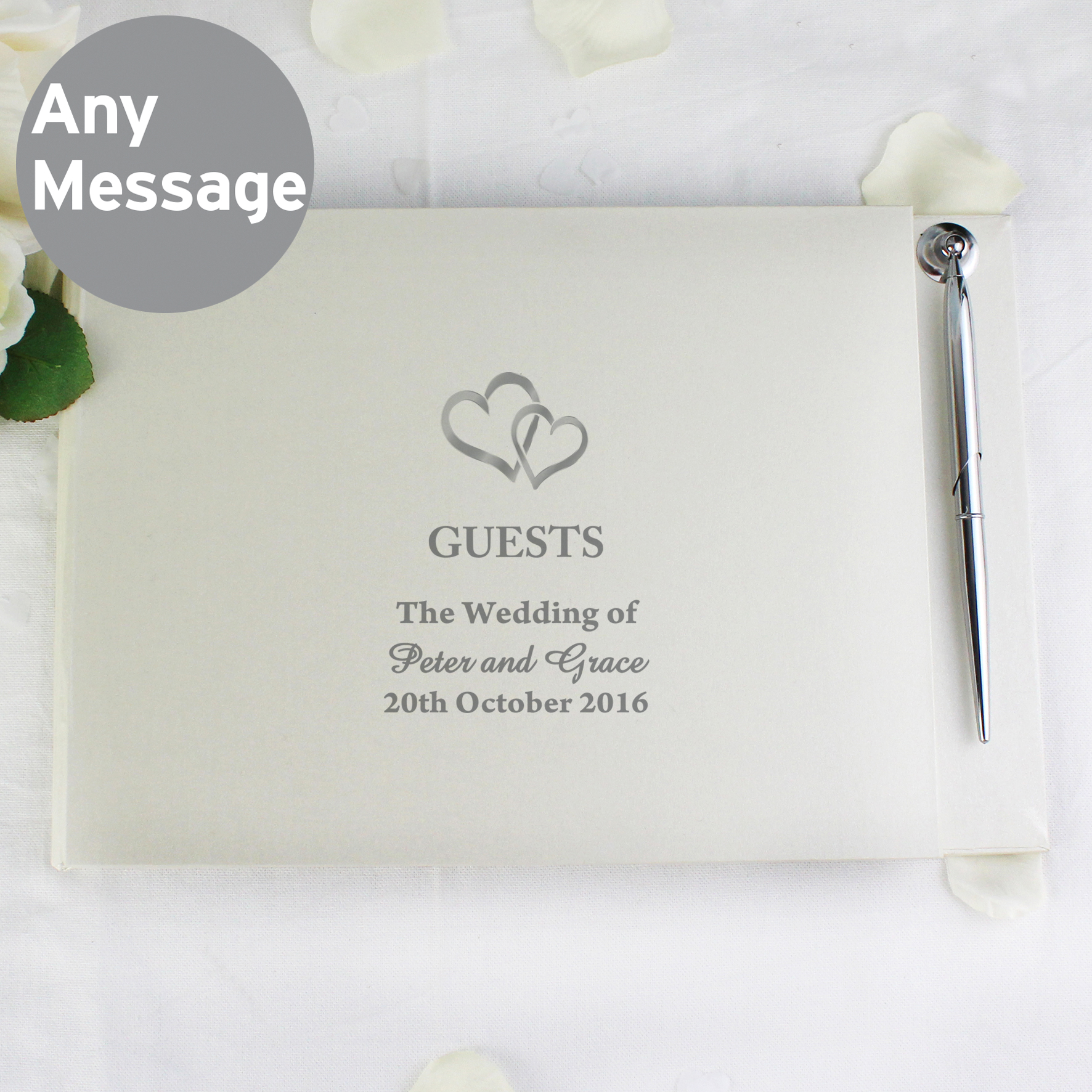 Personalised Hardback Guest Book Hearts Design