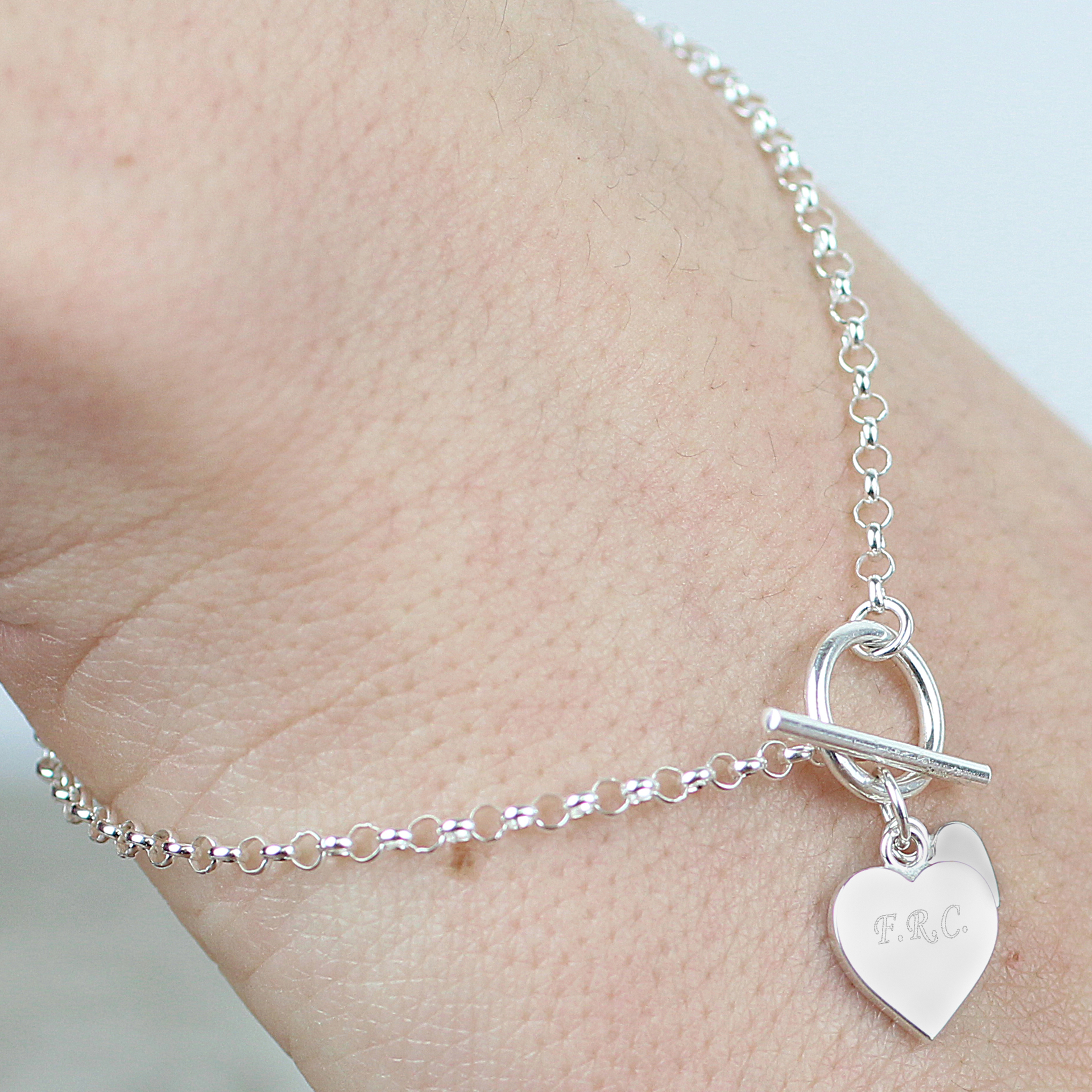 Engraved Hearts T-Bar Bracelet
