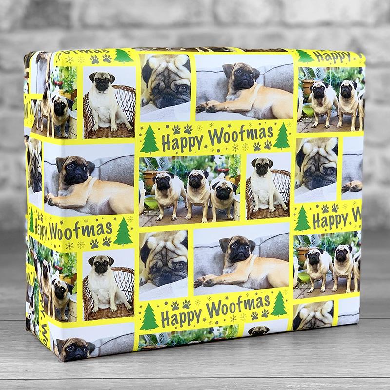 Happy Woofmas Yellow Gift Wrap with Photo Upload