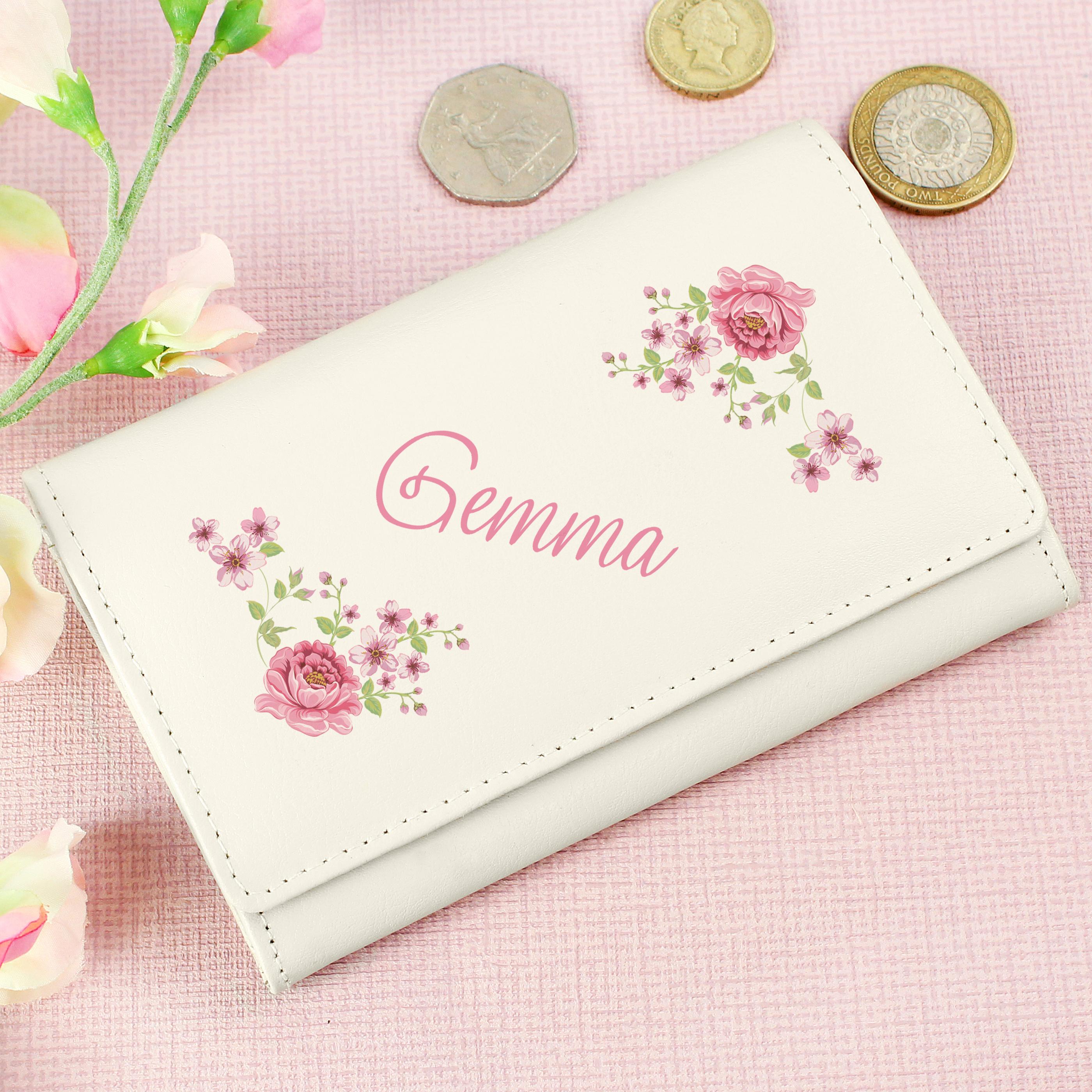 Personalised Floral Cream Purse