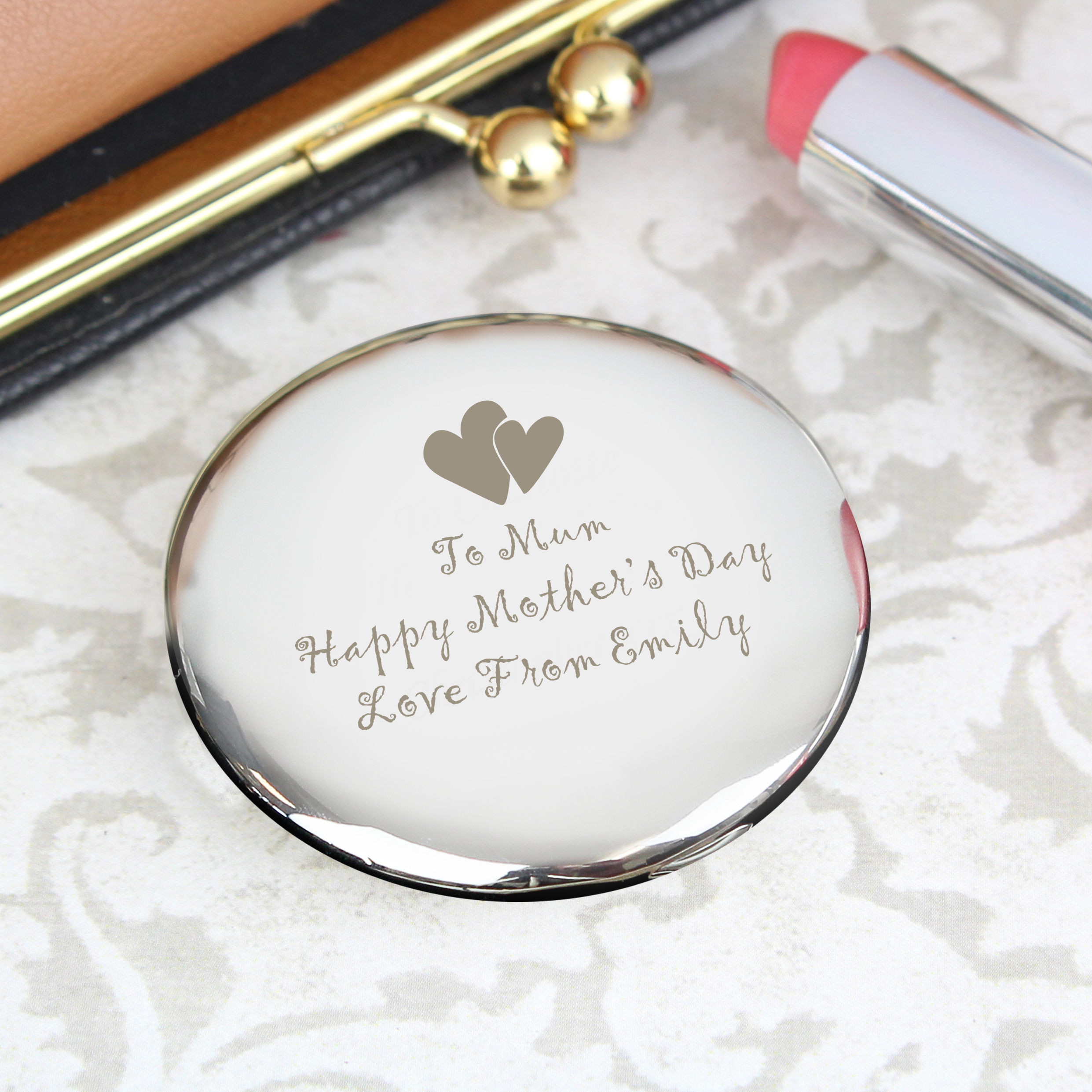 Engraved Round Compact with Heart Motif