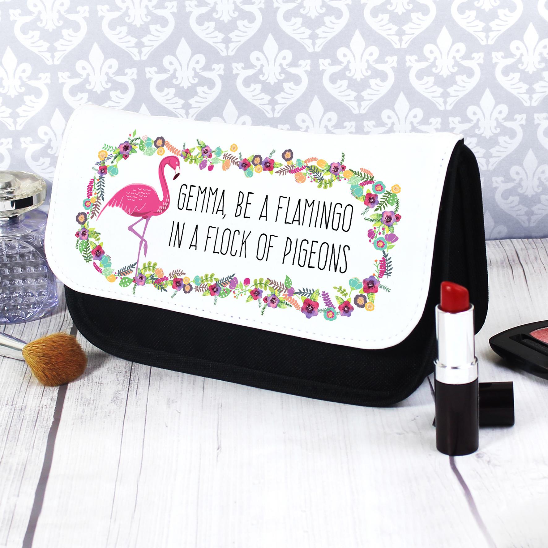 Personalised Flamingo Make Up Bag