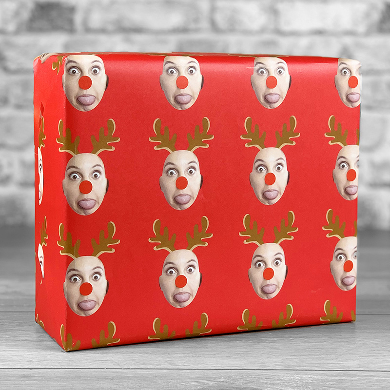 Reindeer Antlers Red Gift Wrap with Face Upload