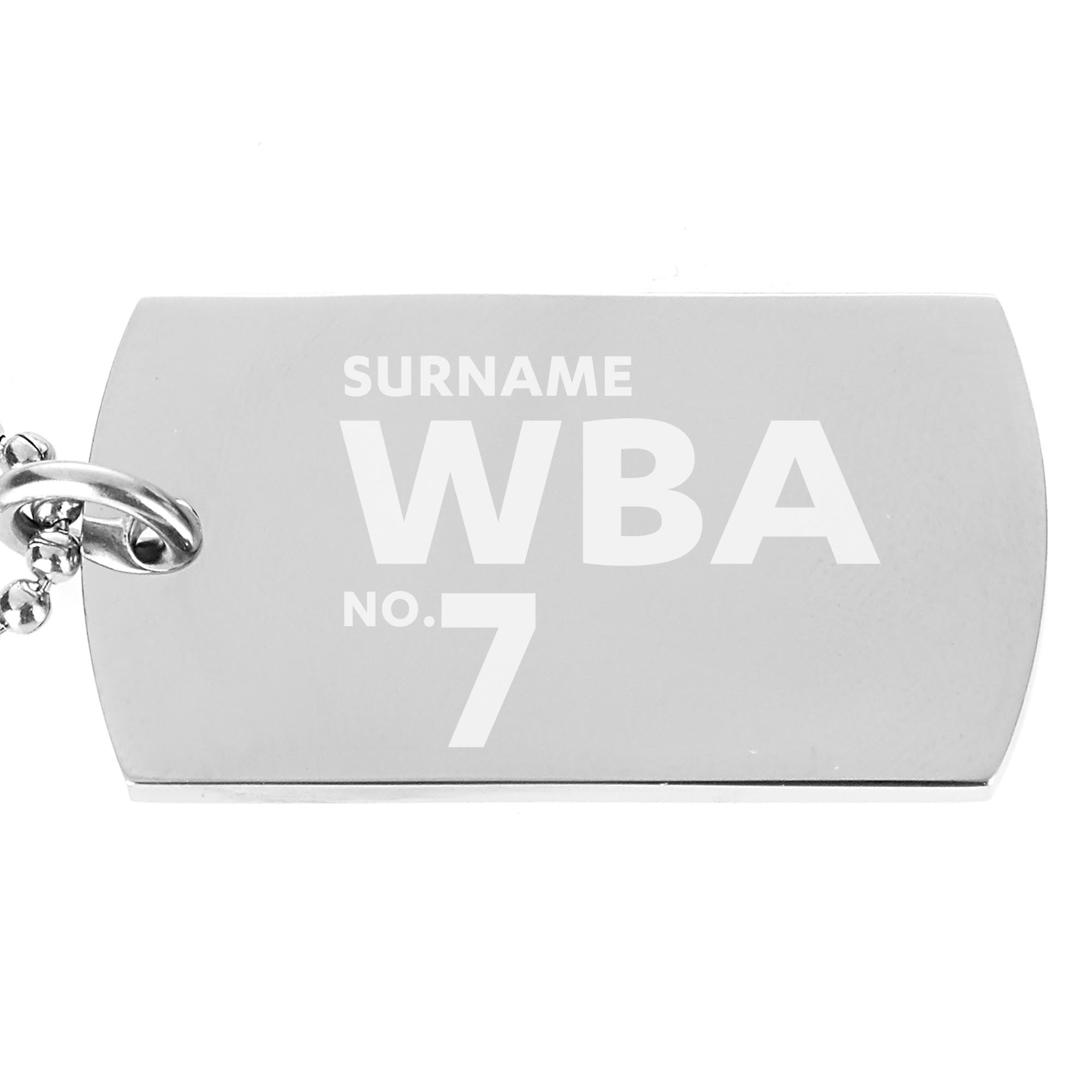 West Bromwich Albion FC Number Dog Tag Pendant