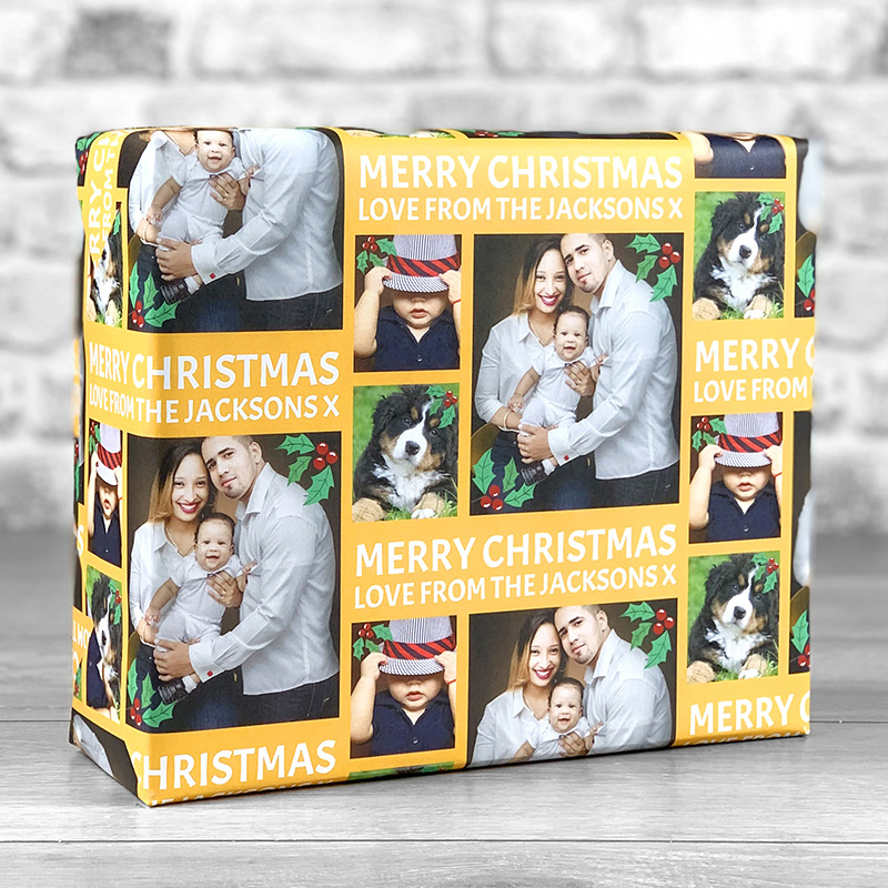 Merry Christmas Orange Gift Wrap with Personalised Message and 3 Photo Uploads