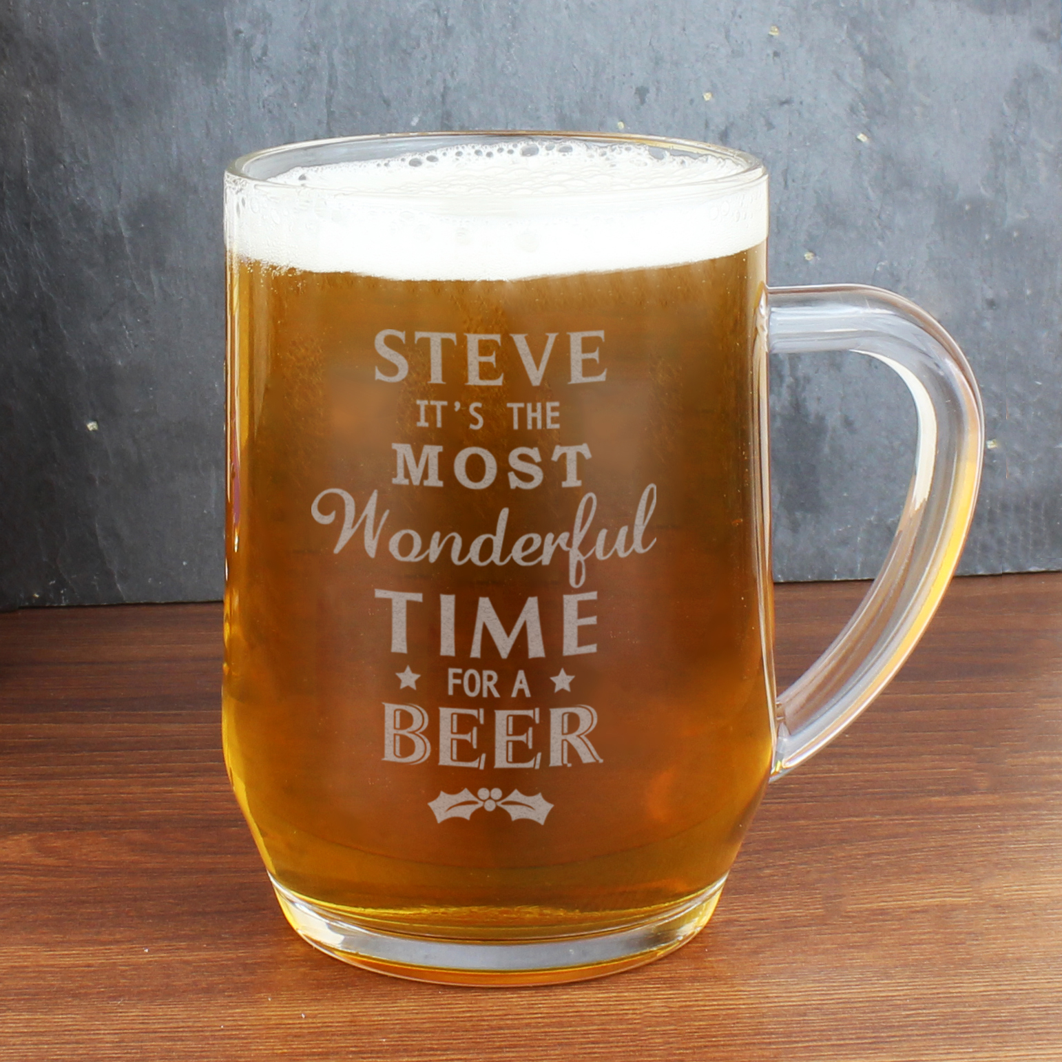 Engraved 'Wonderful Time For A Beer...' Glass Tankard