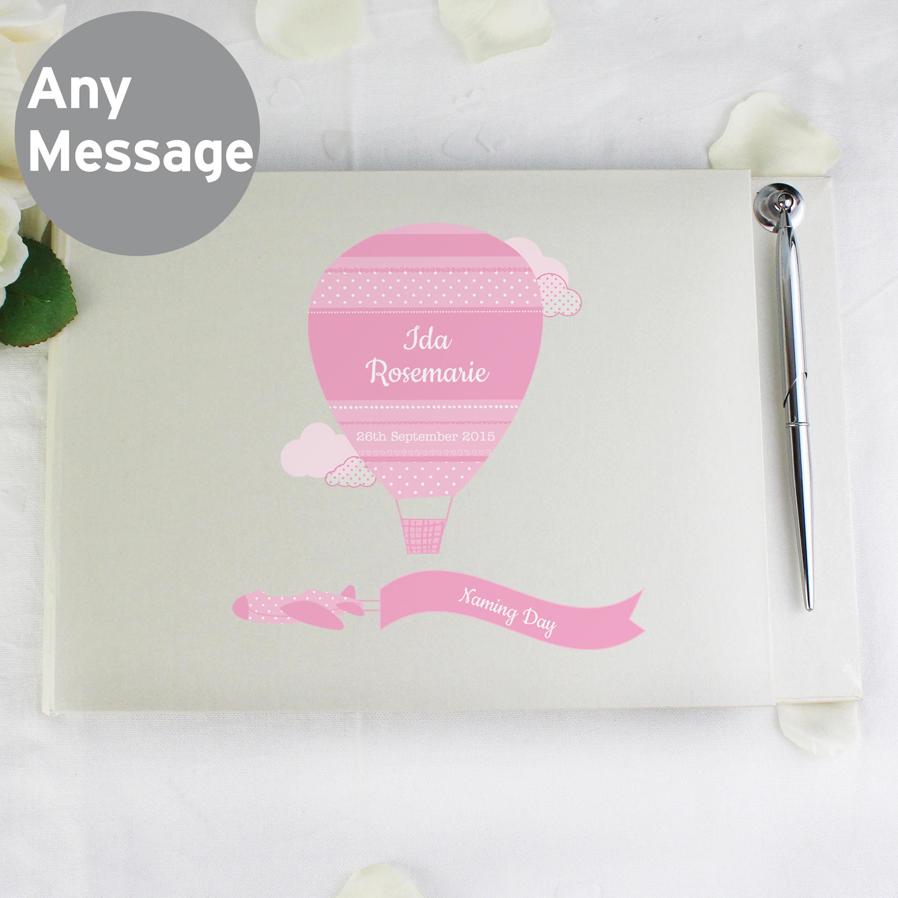 Personalised Up & Away Girls Guest Book