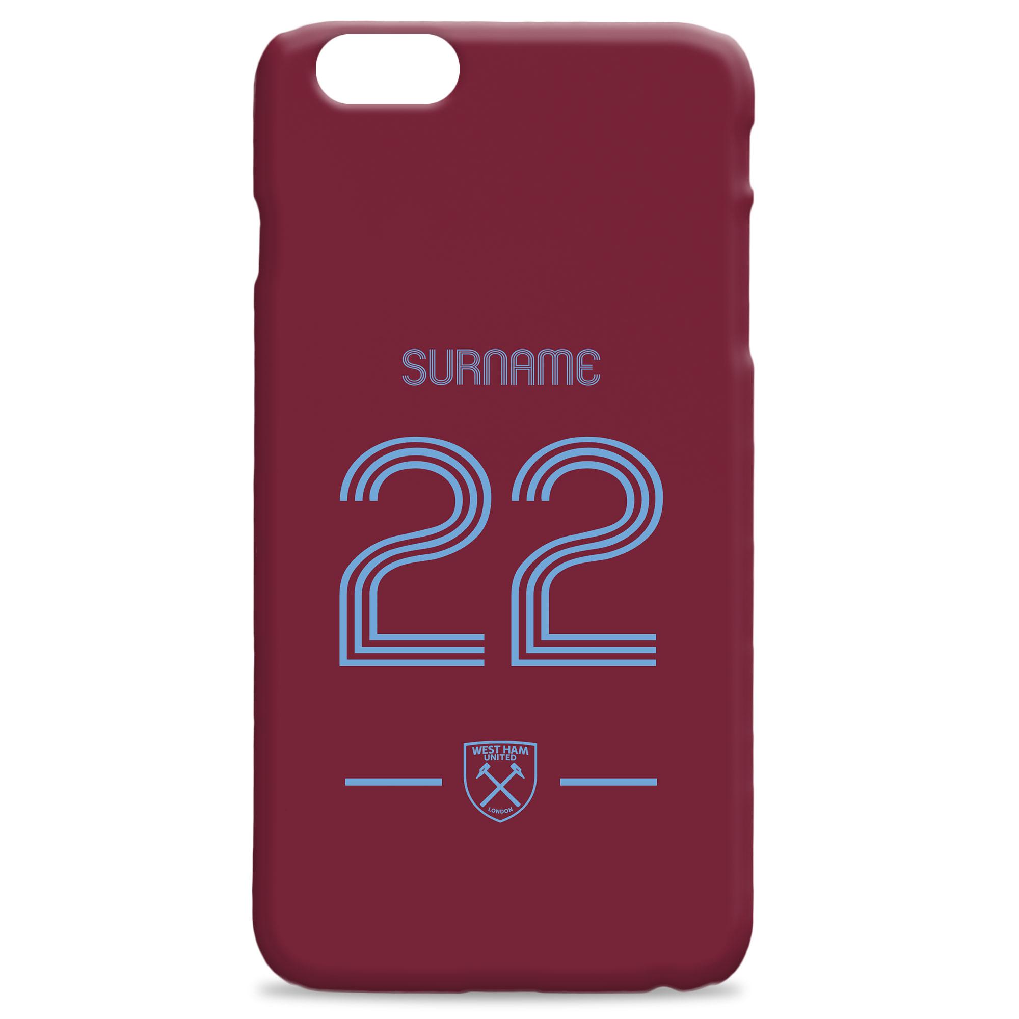 West Ham Retro Shirt Hard Back Phone Case