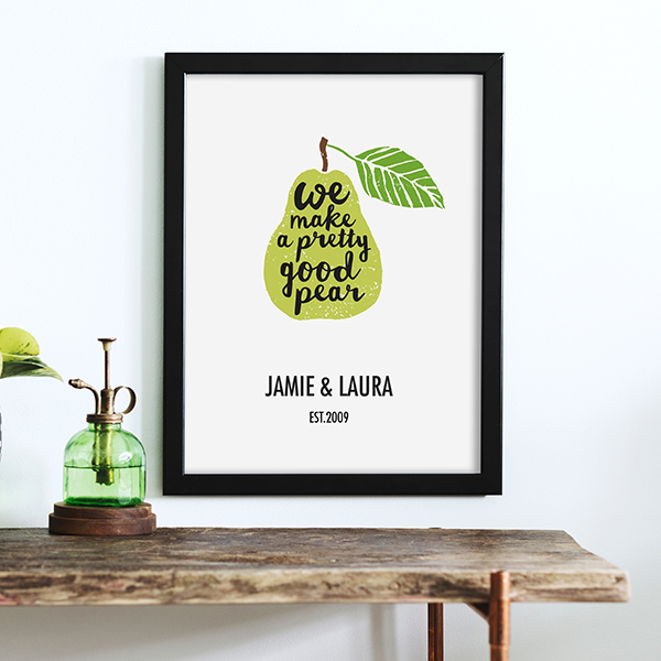 Pretty Good Pear Poster Lifestyle in black frame