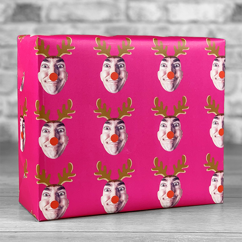 Reindeer Antlers Fuchsia Gift Wrap with Face Upload