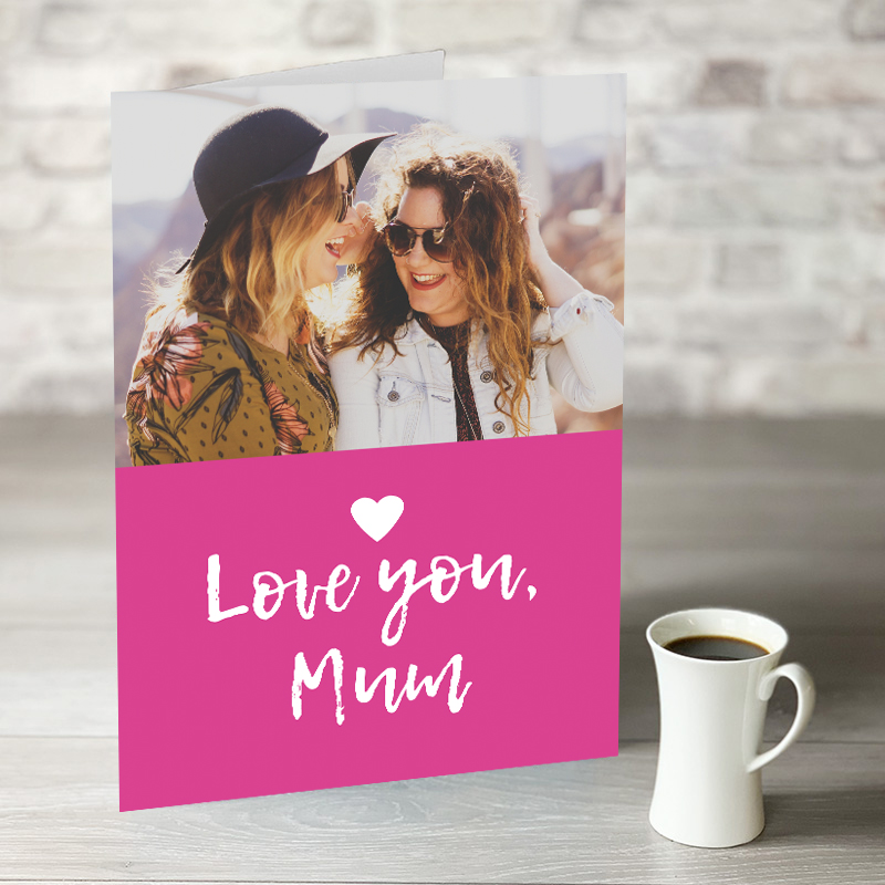 XL Love You Mum Mother's Day Card With Photo Upload