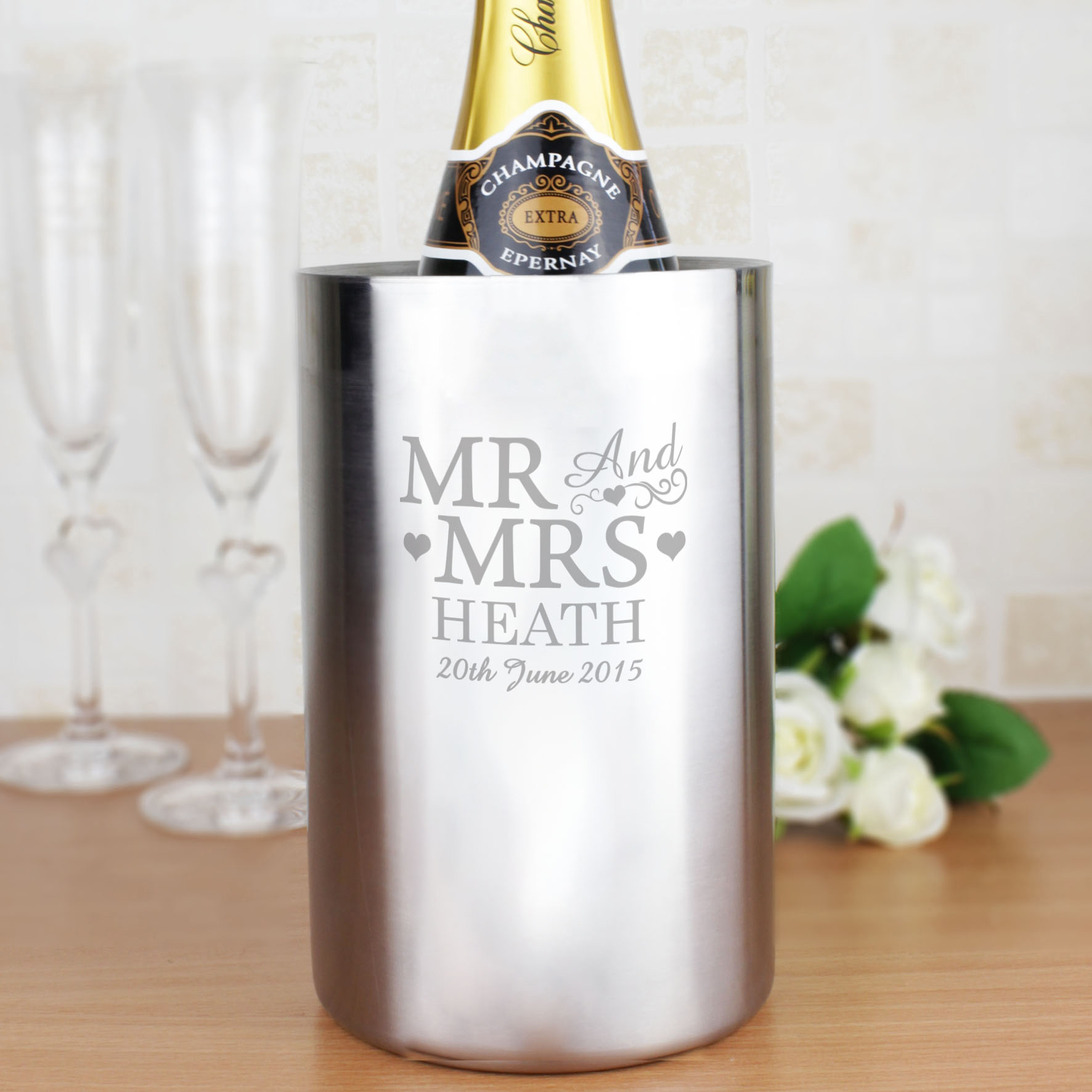 Engraved Mr & Mrs Stainless Steel Wine Cooler
