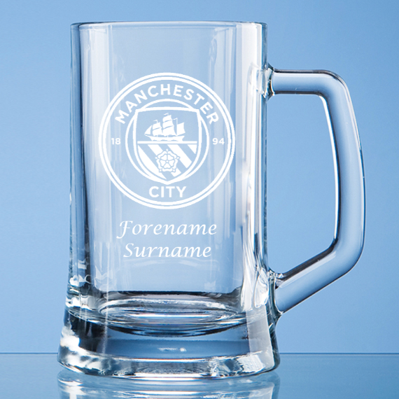 Manchester City FC Personalised Crest Small Plain Straight Sided Tankard