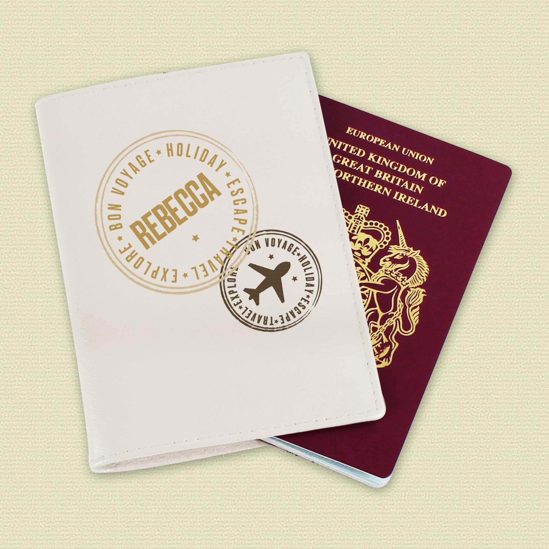 Personalised Stamped Pink Passport Holder