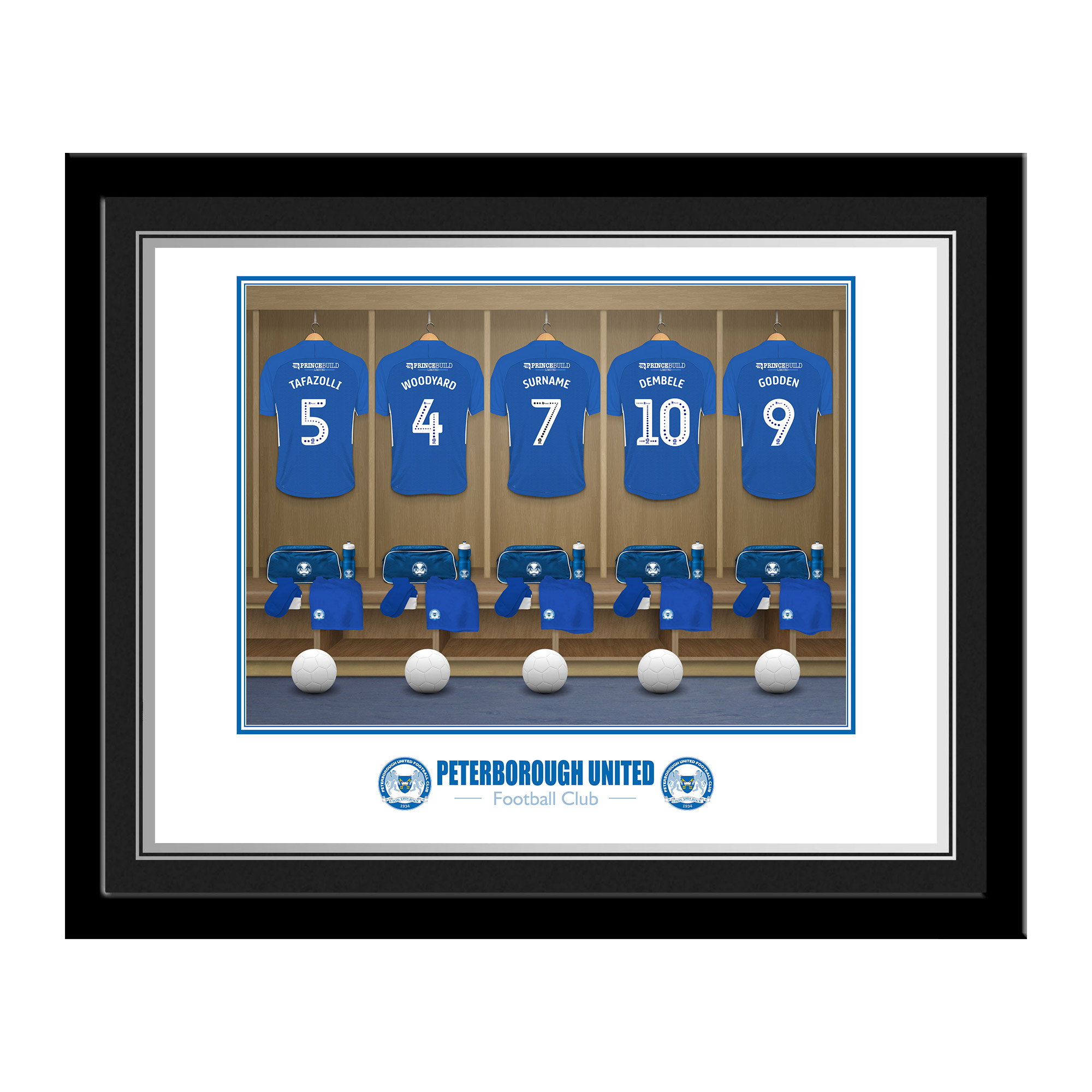 Peterborough United FC Dressing Room Photo Framed