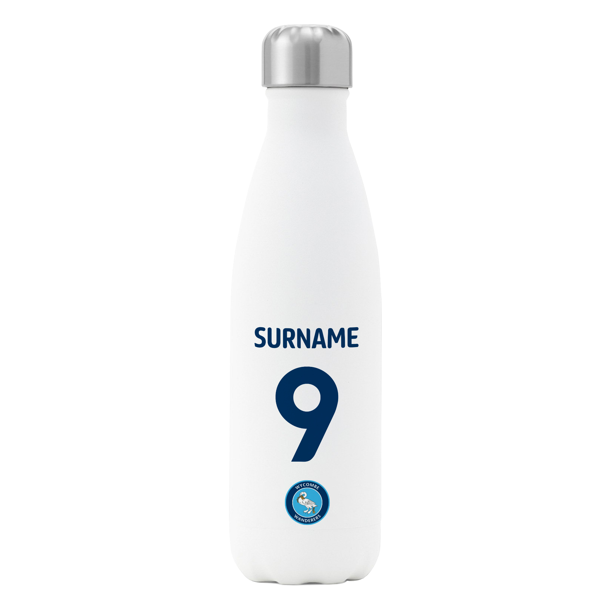 Wycombe Wanderers FC Back of Shirt Insulated Water Bottle - White
