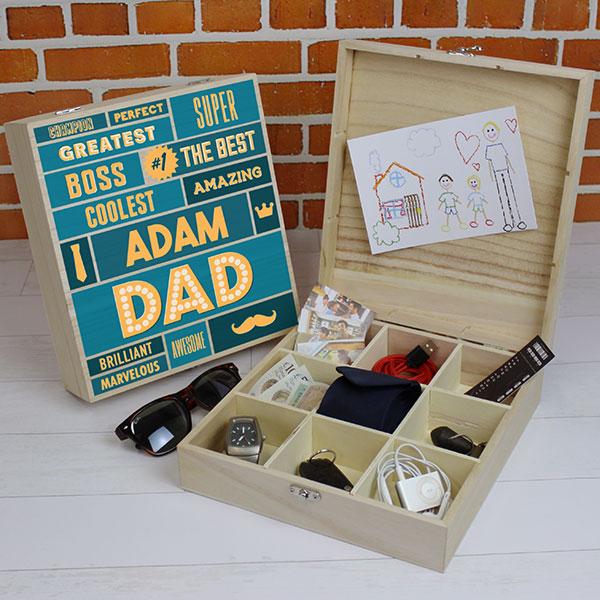 Best Dad - 9 Compartment Wooden Storage Box