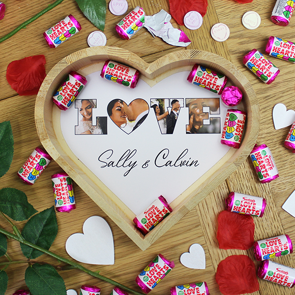 'LOVE' Photo Gift - Large Wooden Sweet Heart