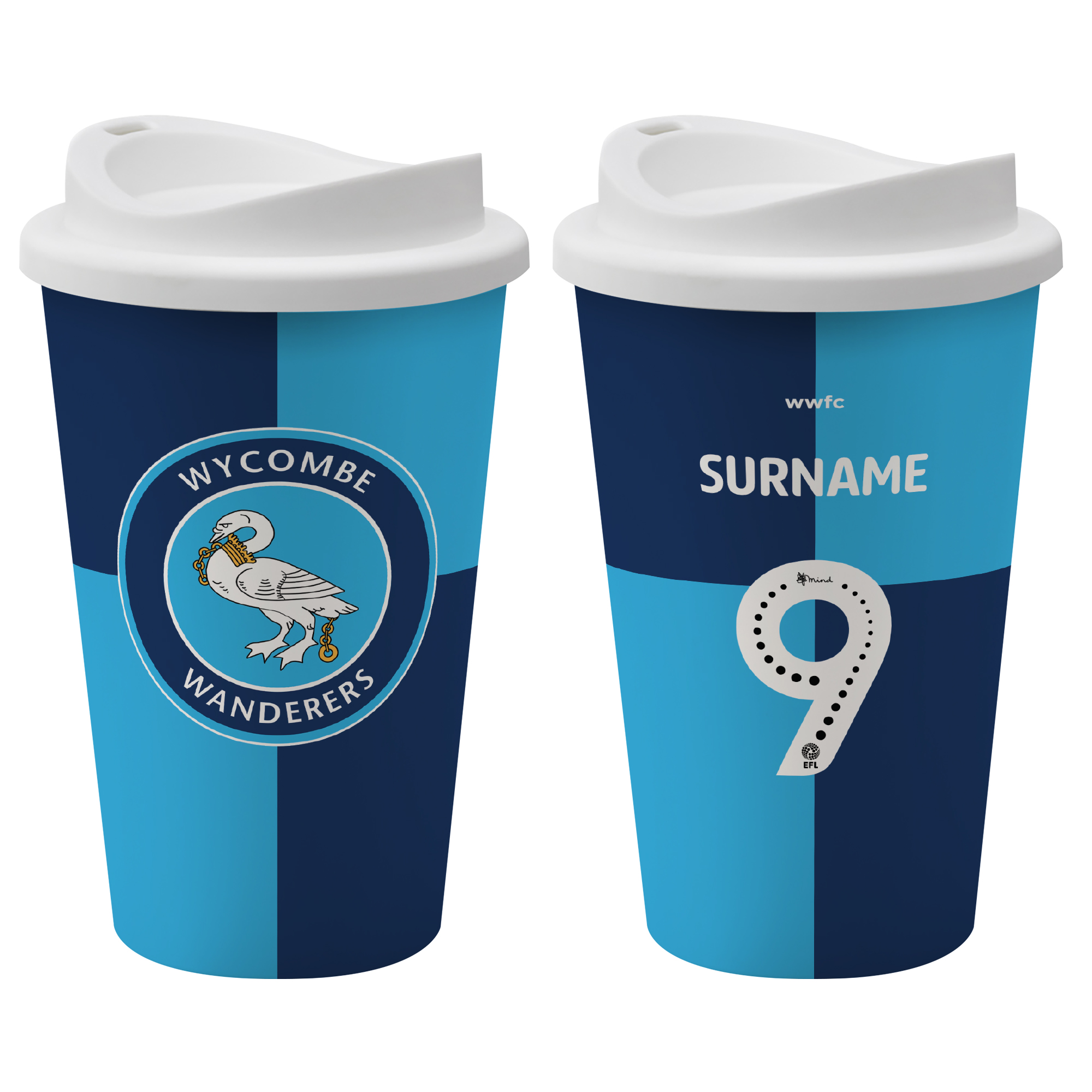 Wycombe Wanderers FC Back of Shirt Reusable Cup