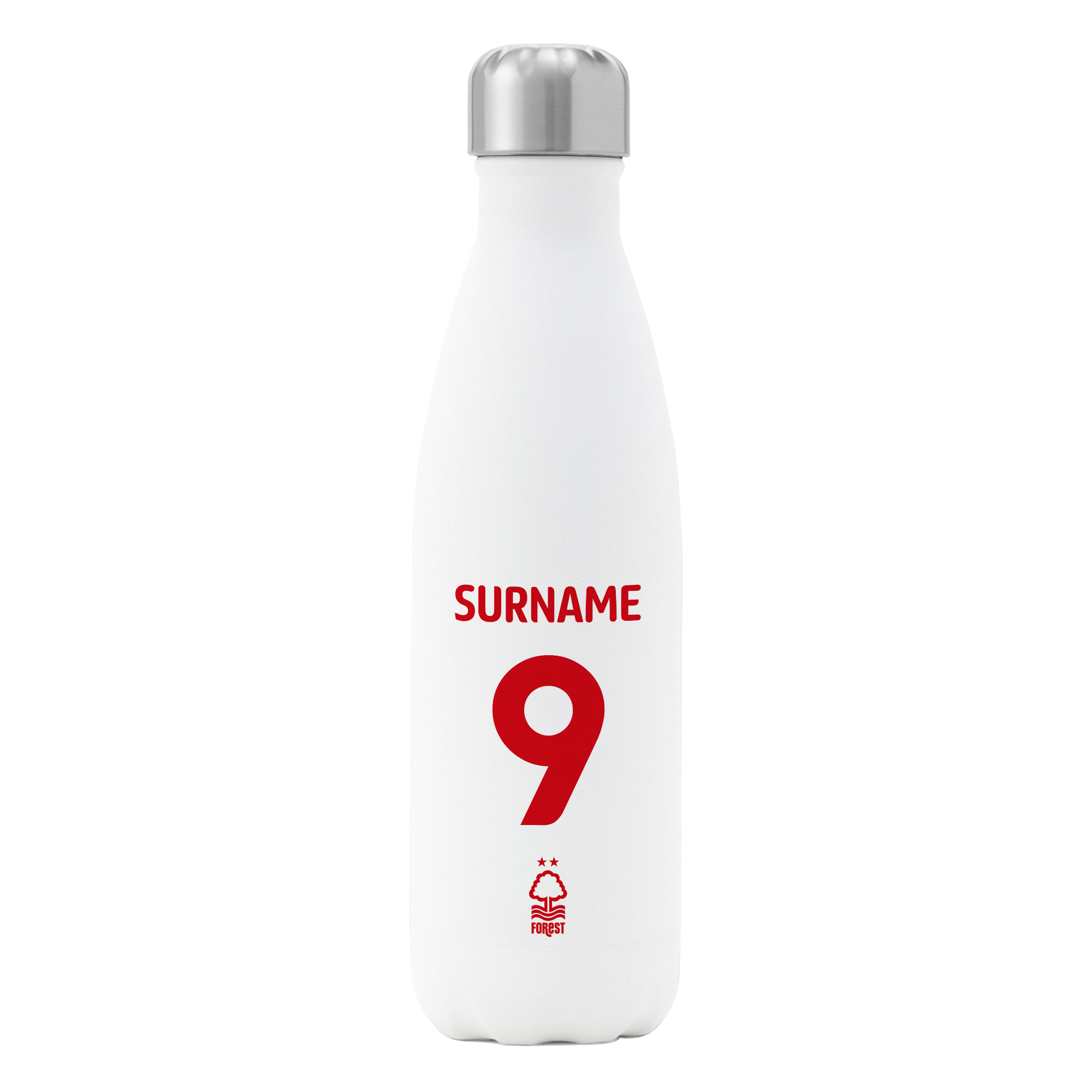 Nottingham Forest FC Back of Shirt Insulated Water Bottle - White