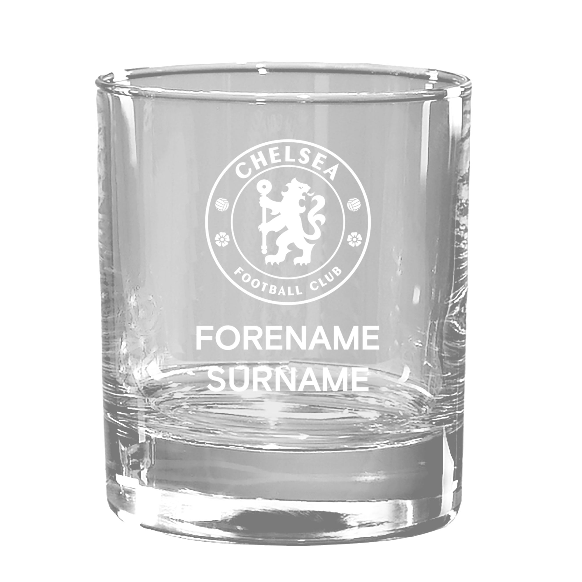 Chelsea FC Personalised Crest Bar Line Old Fashioned Whisky Tumbler