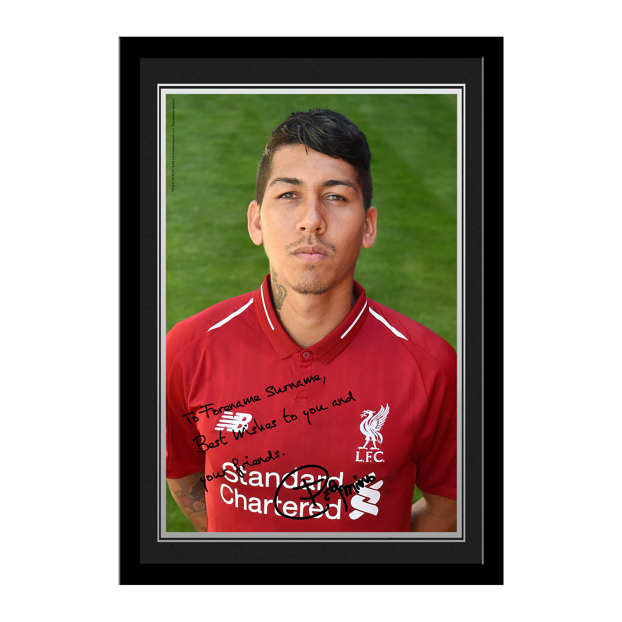 Liverpool FC Firmino Autograph Photo Framed