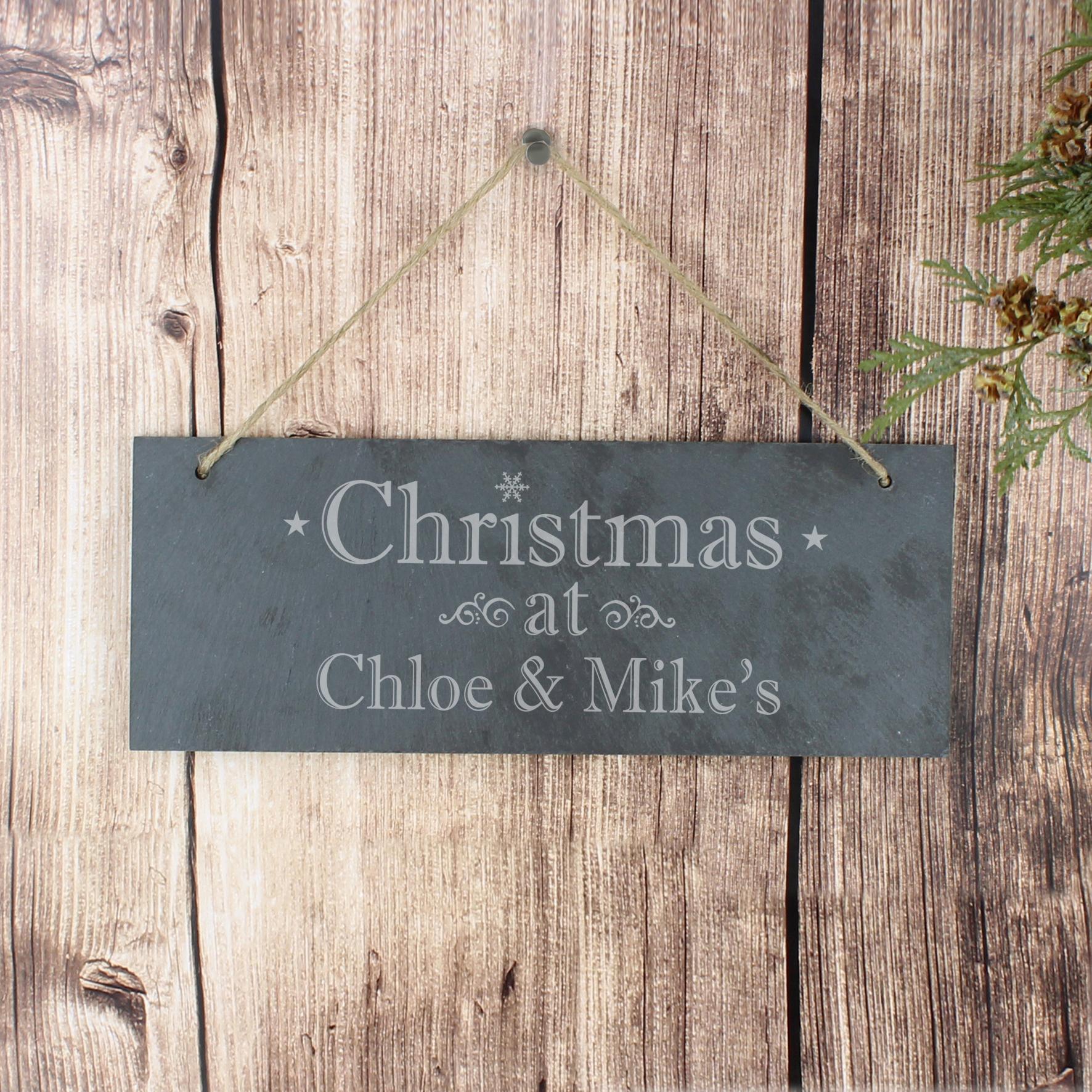 Engraved Christmas Slate Door Plaque