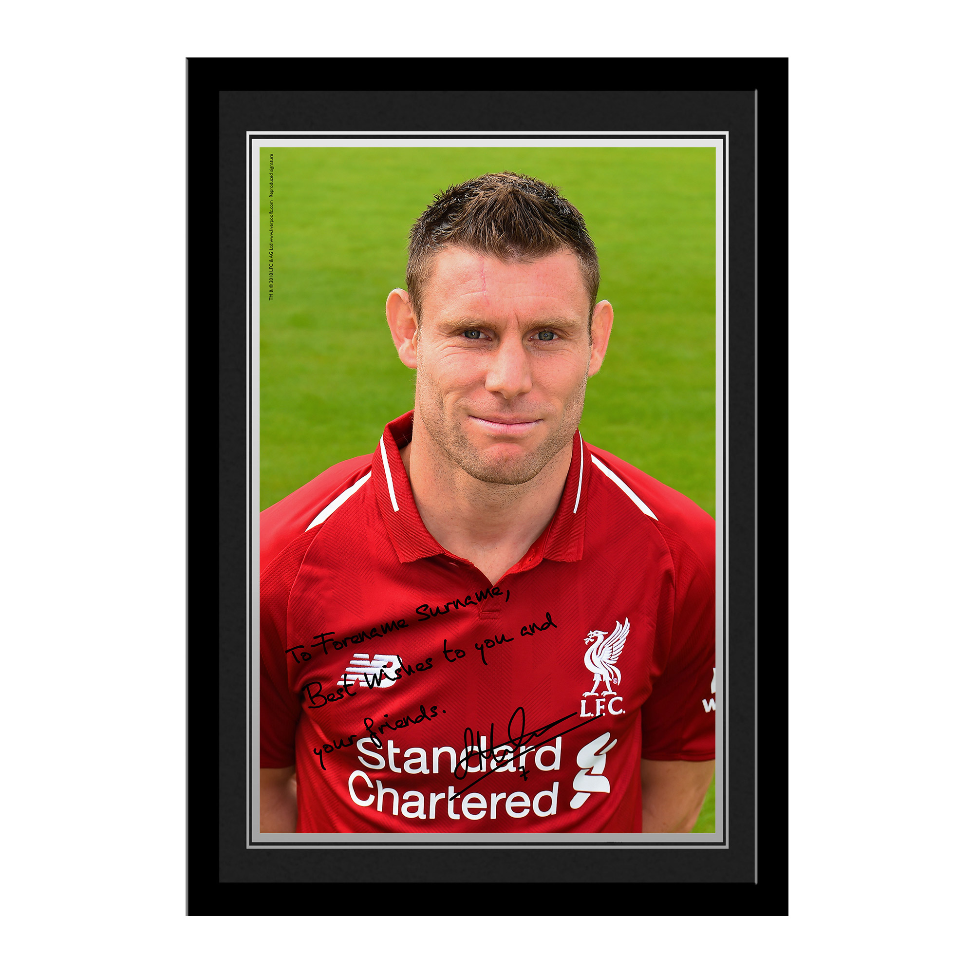 Liverpool FC Milner Autograph Photo Framed