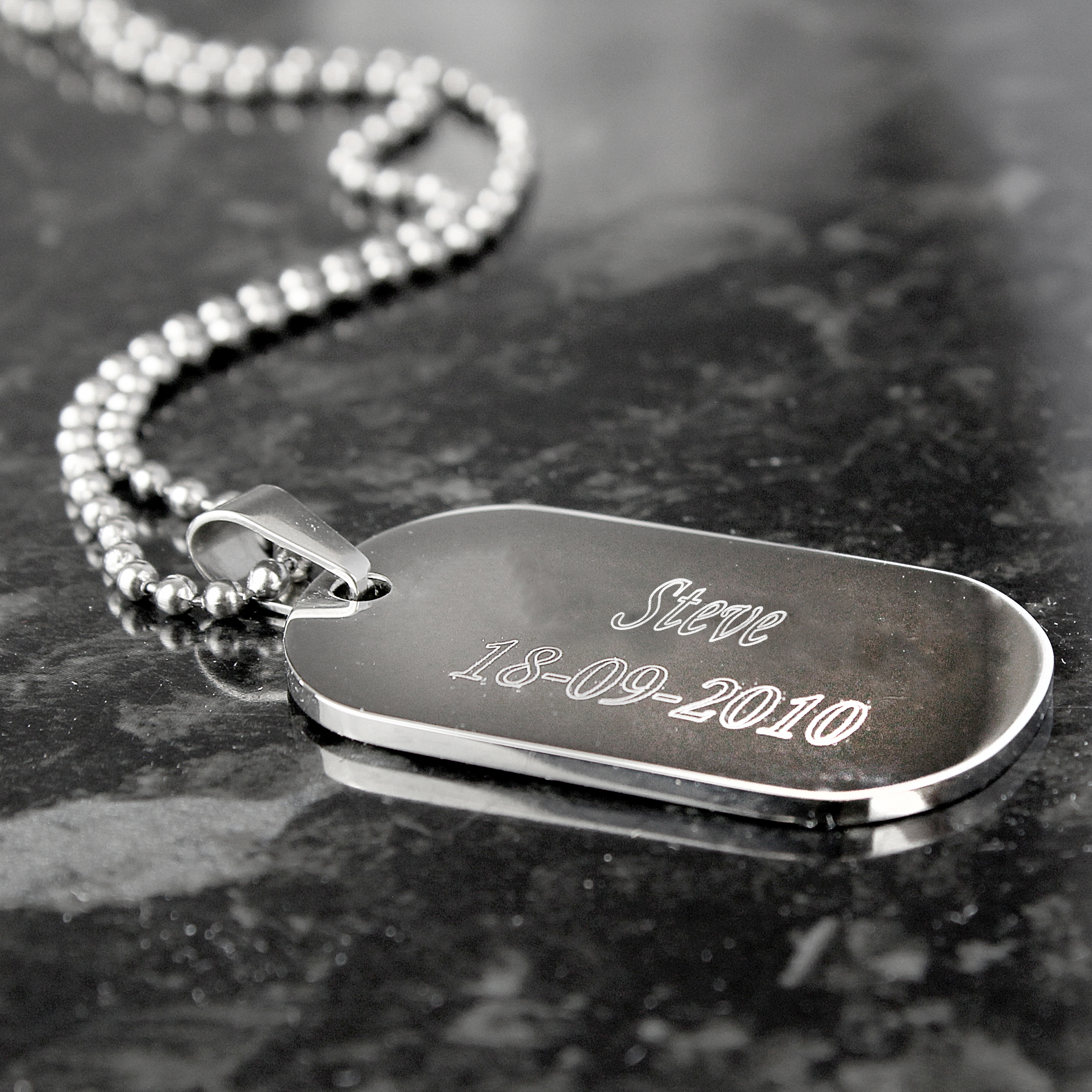 Engraved Stainless Steel Dog Tag Necklace