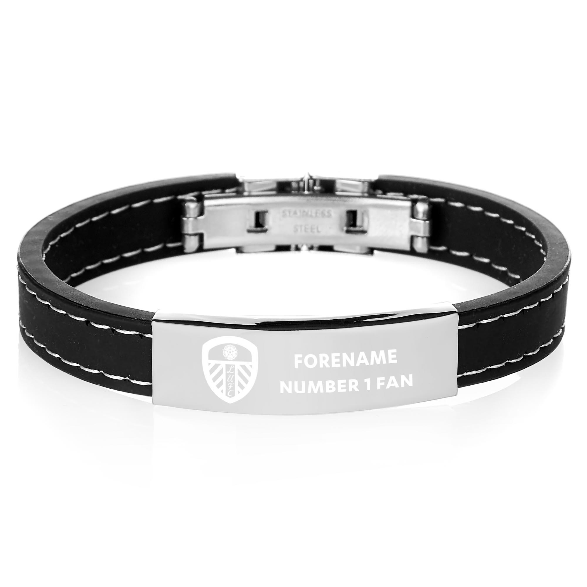 Leeds United FC Steel & Rubber Bracelet