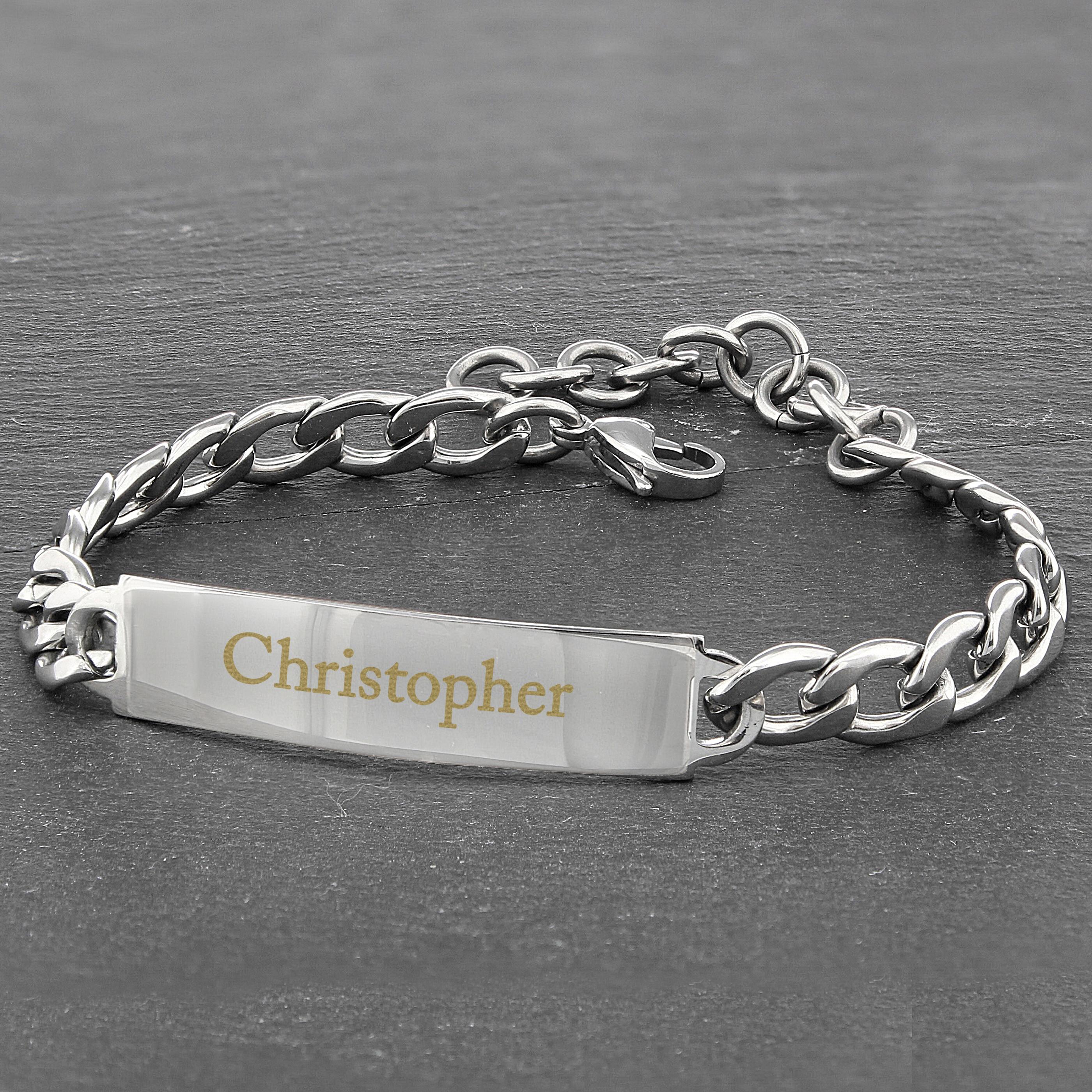 Engraved Stainless Steel Unisex Bracelet